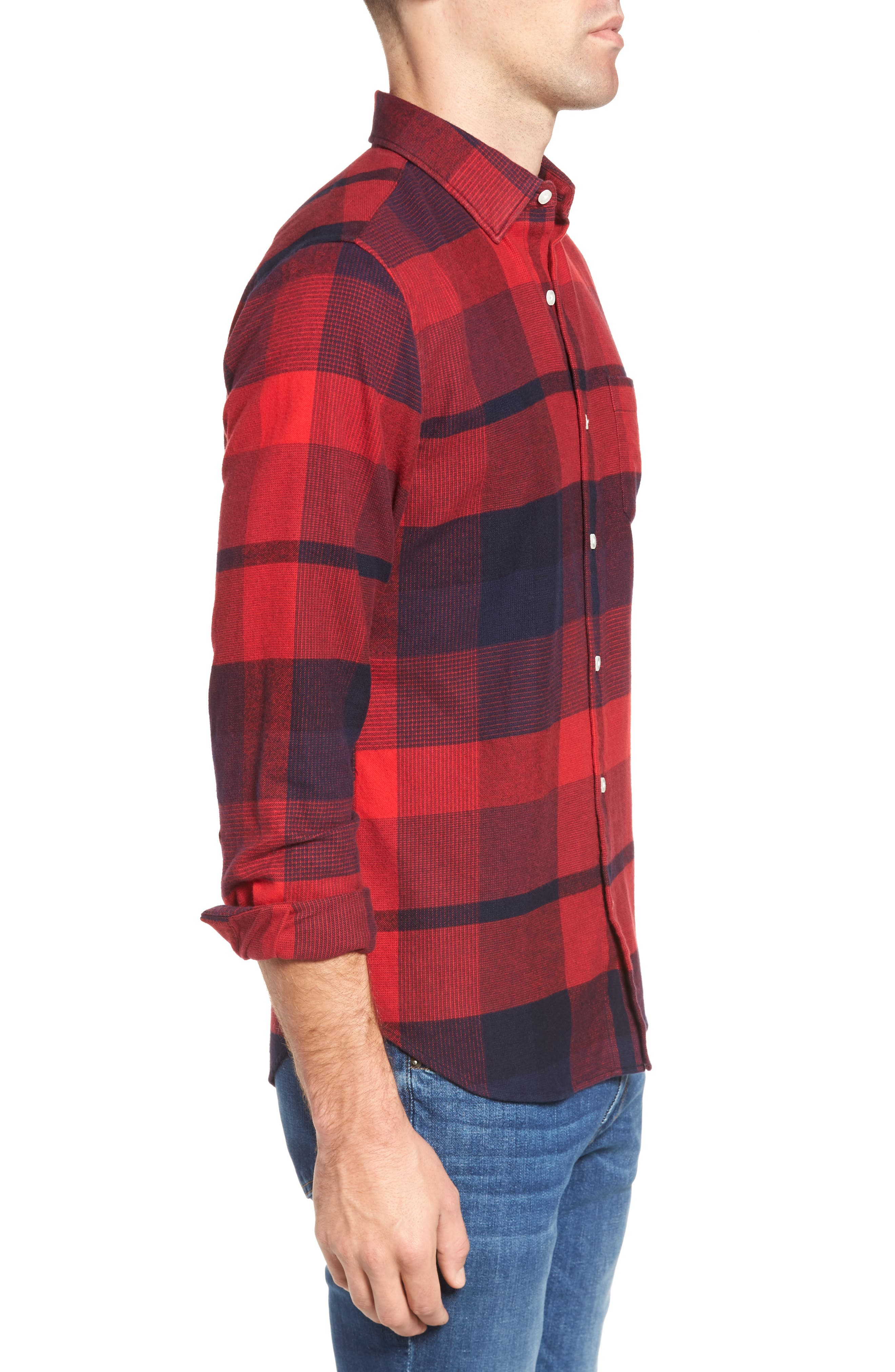 Slim Fit Brushed Plaid Sport Shirt,                             Alternate thumbnail 3, color,