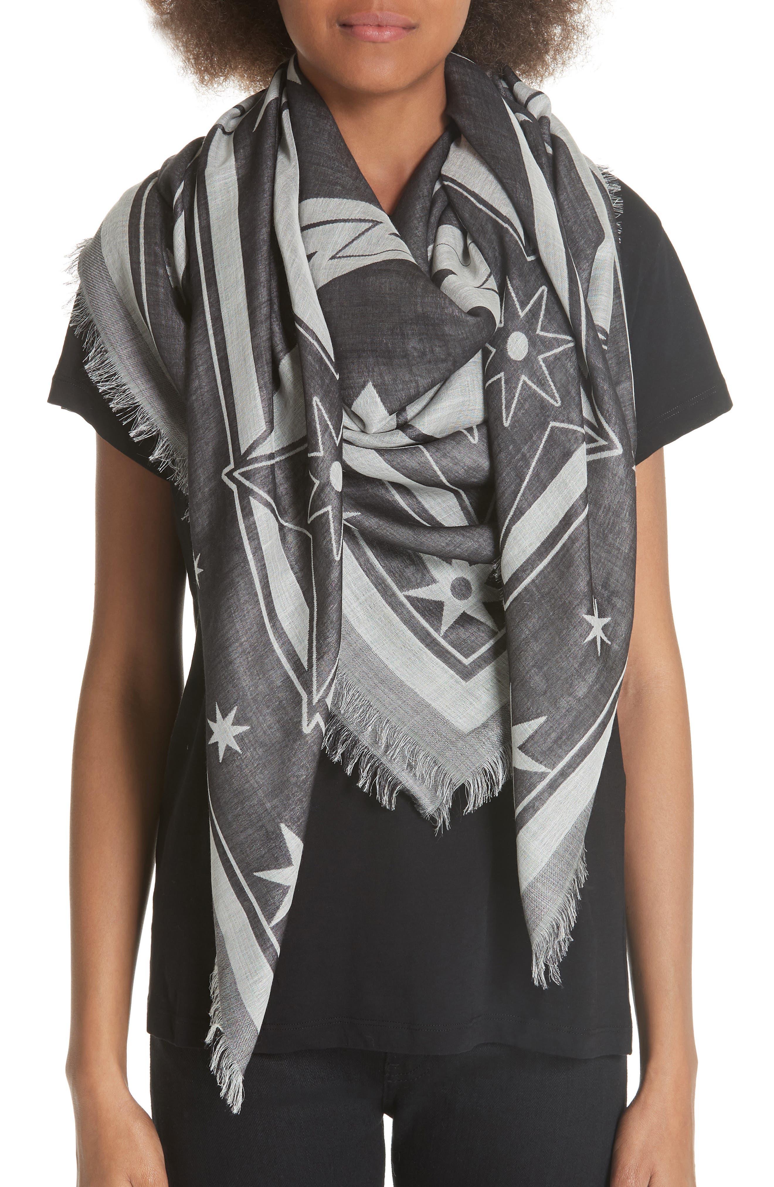 Iconic Flash Jacquard Silk & Wool Shawl,                             Alternate thumbnail 2, color,                             BLACK/ WHITE