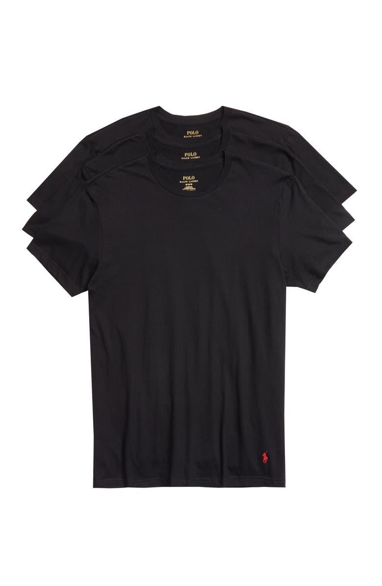 4e3a8c814 POLO RALPH LAUREN 3-Pack Crewneck T-Shirts, Main, color, BLACK