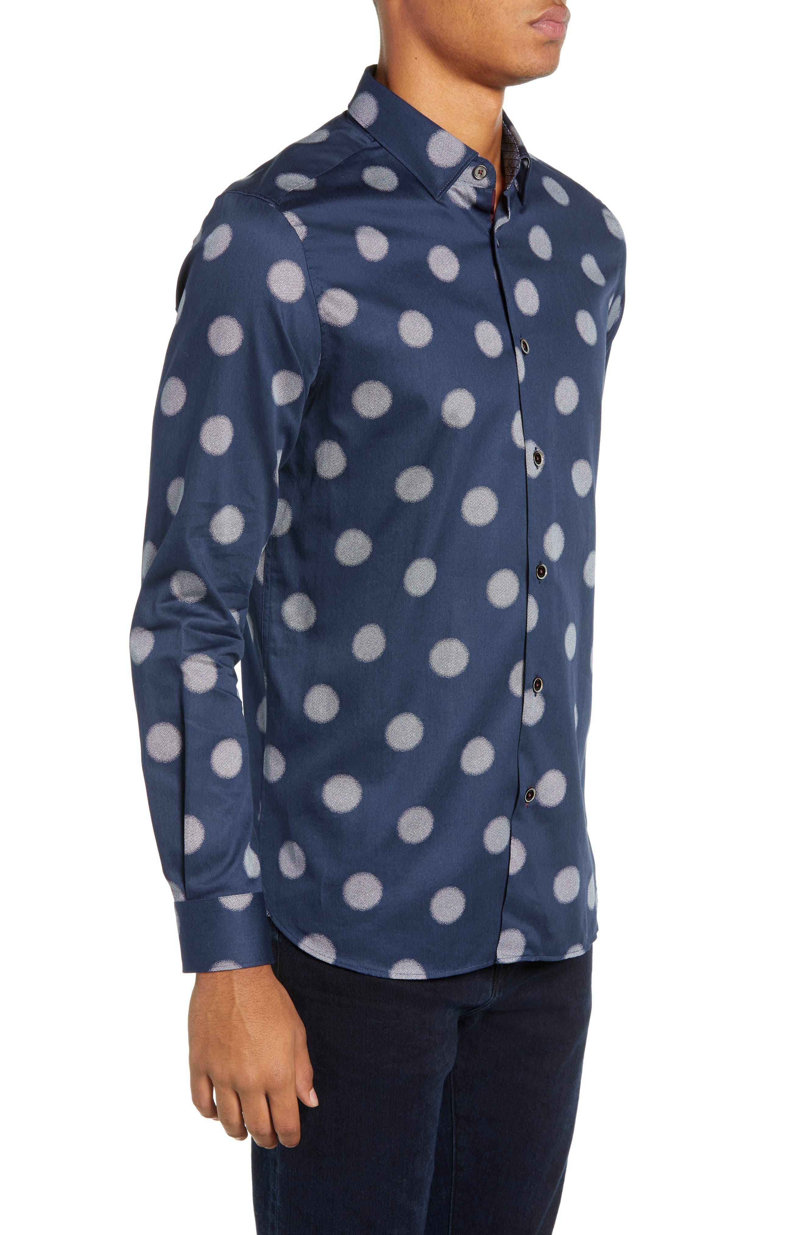 Cerious Slim Fit Circle Dot Sport Shirt,                             Alternate thumbnail 4, color,                             NAVY