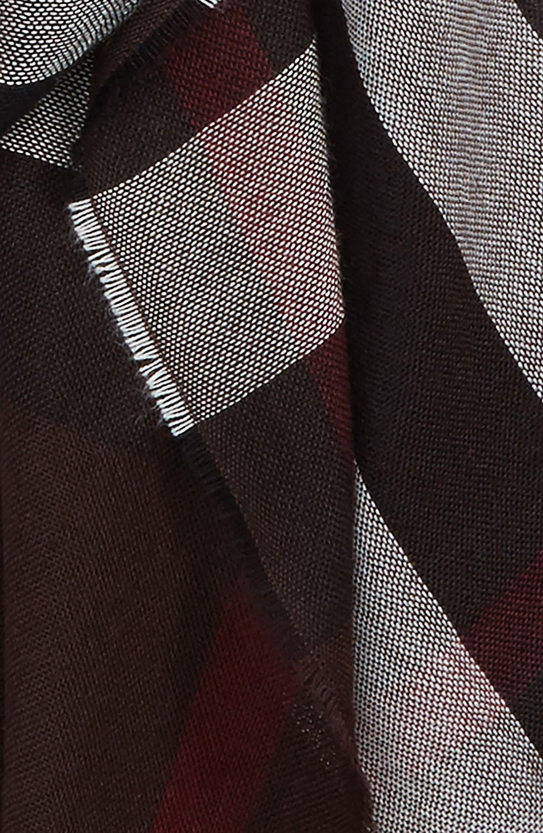 Check Wool & Cashmere Scarf,                             Alternate thumbnail 3, color,                             602