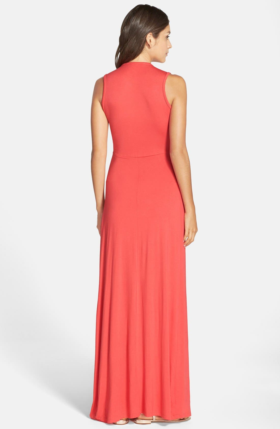 Deep V-Neck Jersey Maxi Dress,                             Alternate thumbnail 7, color,                             CORAL