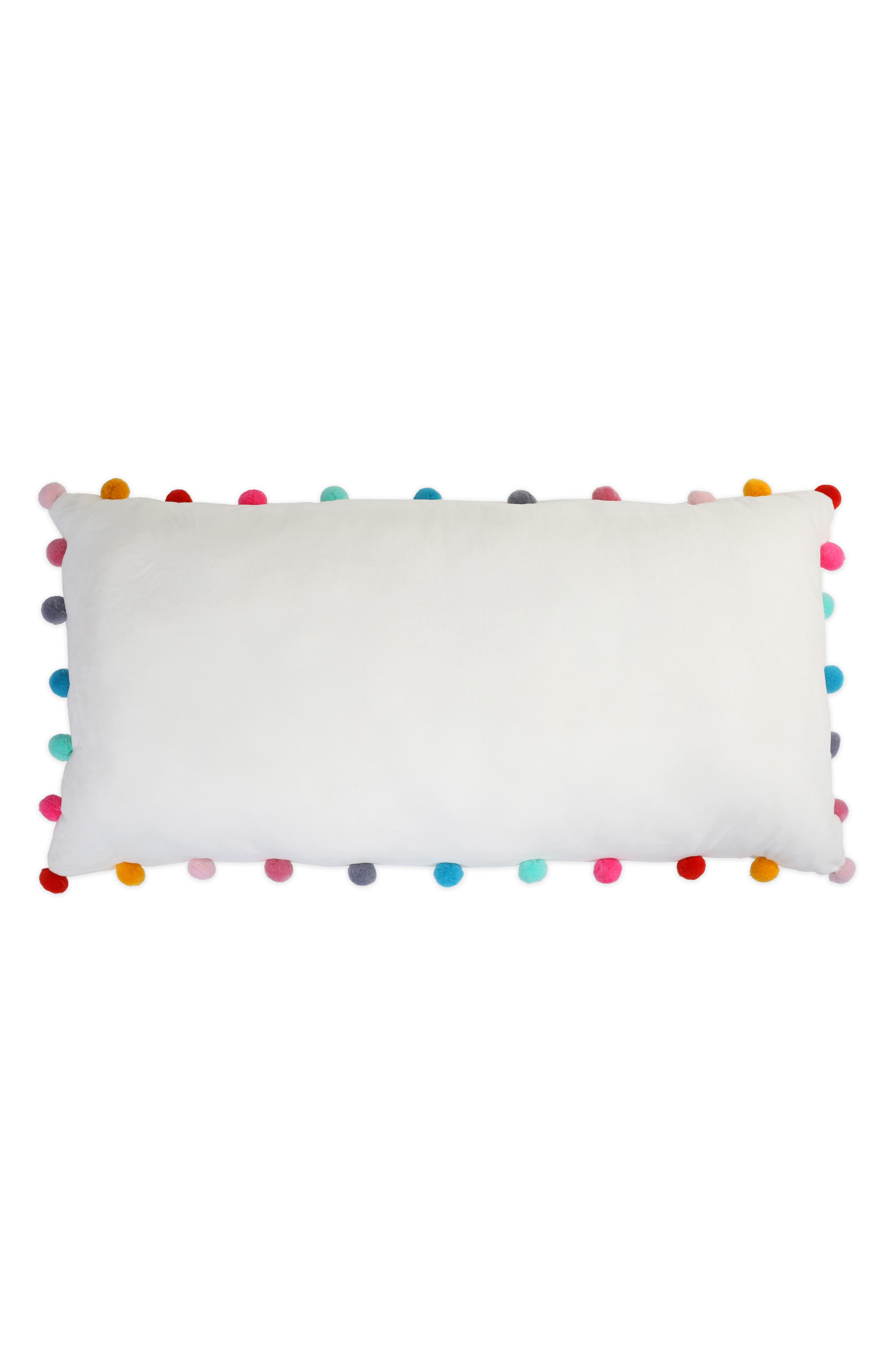 Pompom Plush Pillow,                         Main,                         color, IVORY COMBO