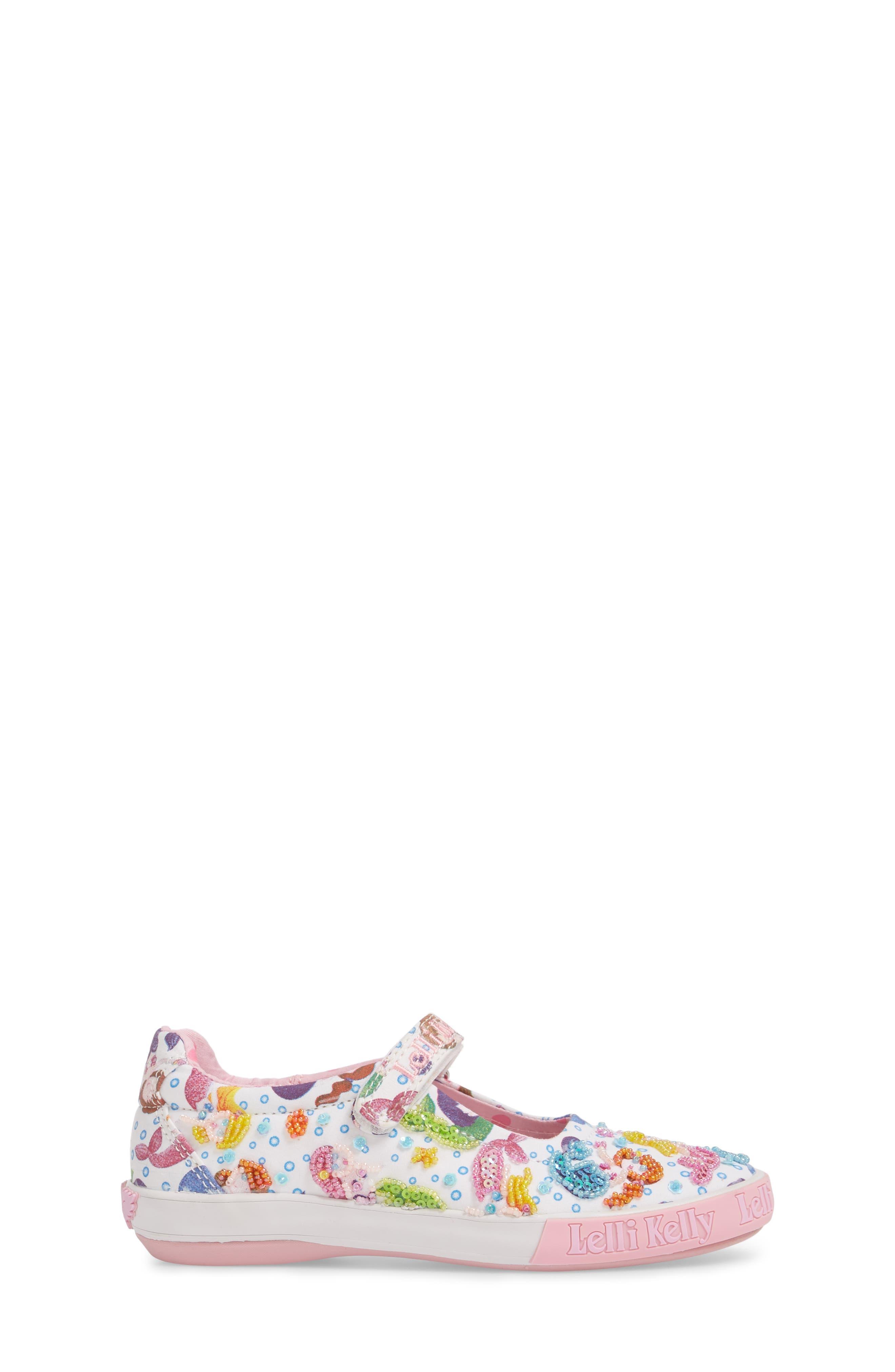 Beaded Mary Jane Sneaker,                             Alternate thumbnail 3, color,                             WHITE
