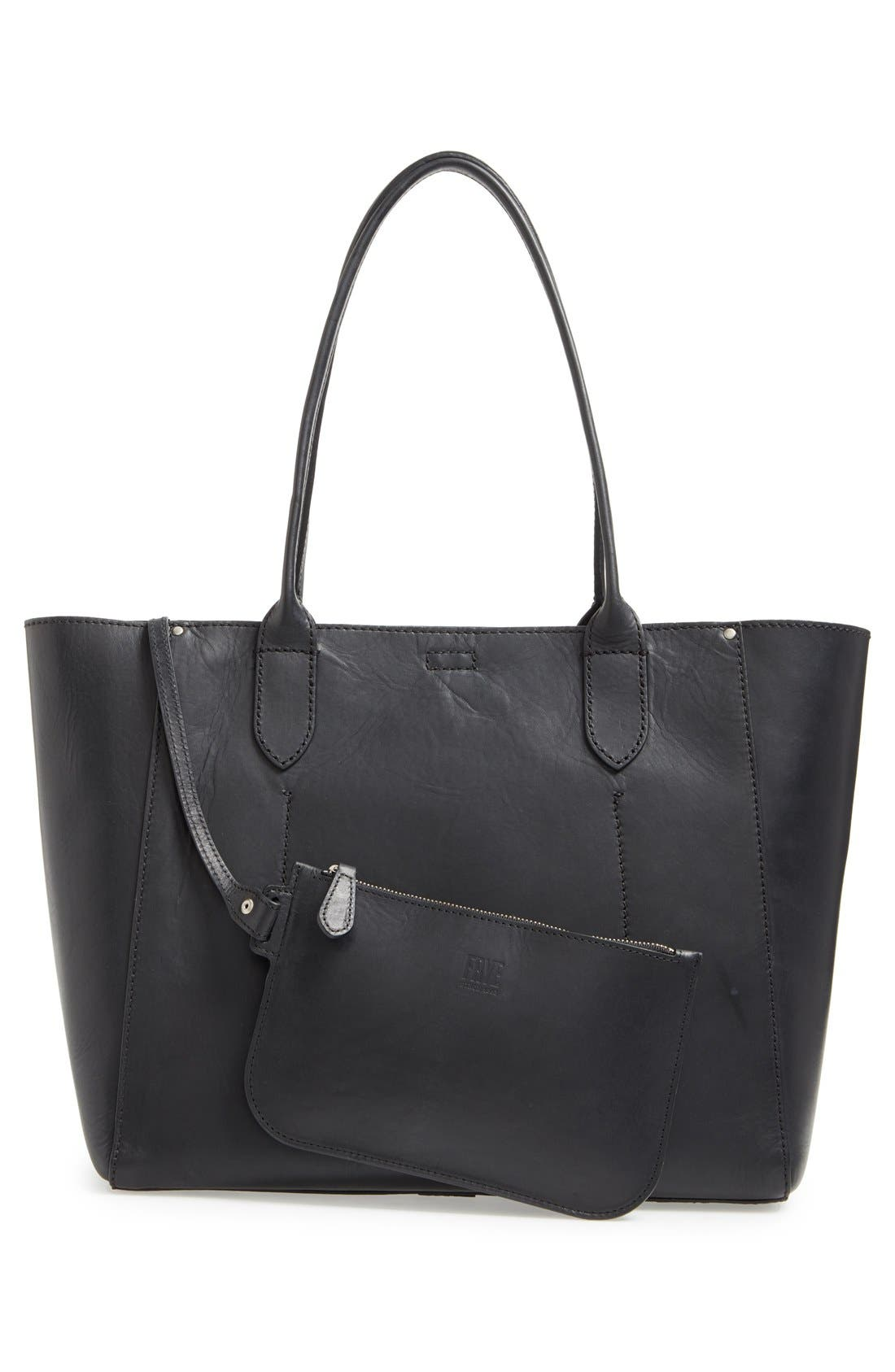 FRYE,                             'Casey' Leather Tote,                             Alternate thumbnail 3, color,                             001