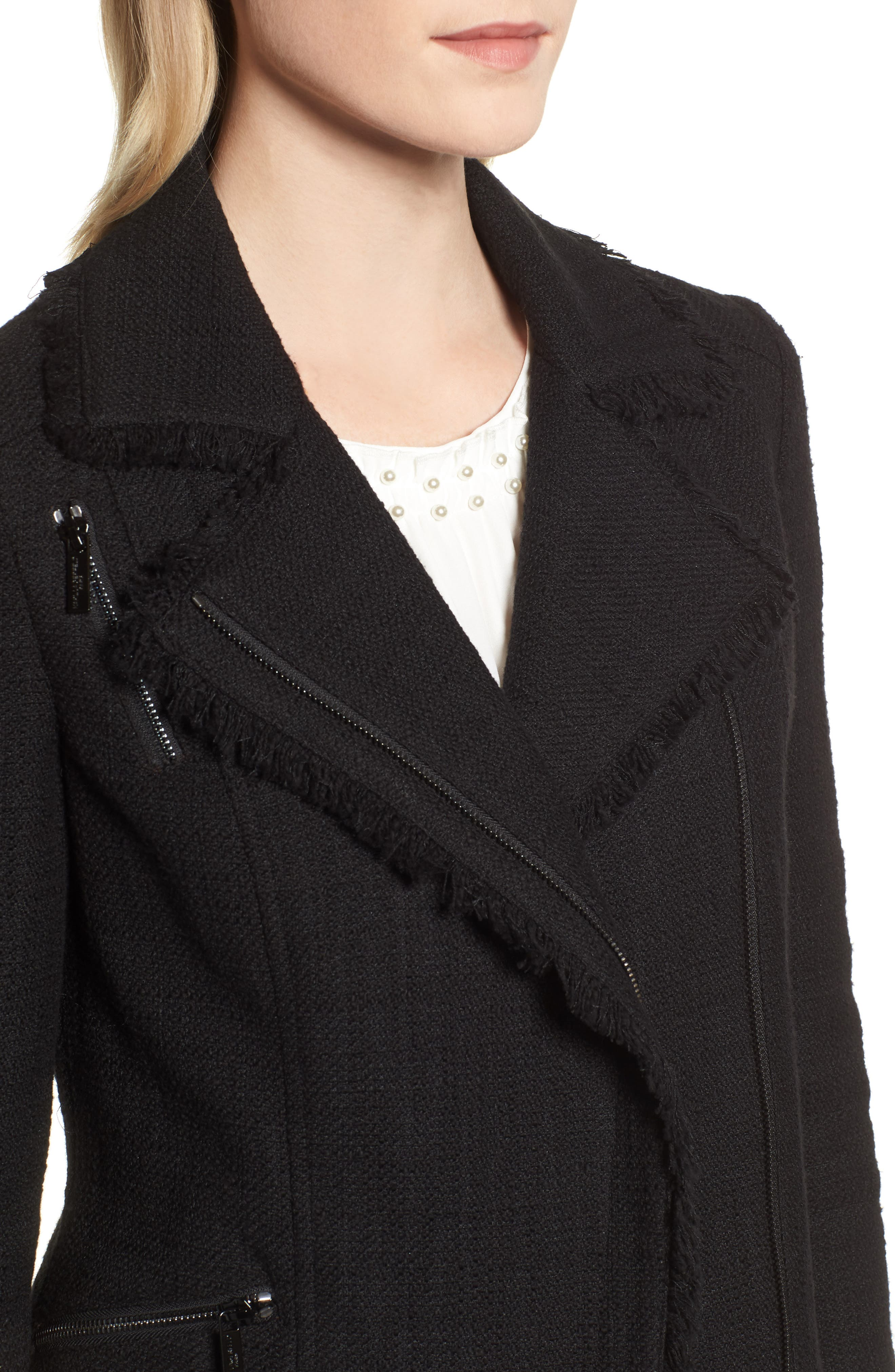 KARL LAGERFELD PARIS,                             Tweed Moto Jacket,                             Alternate thumbnail 5, color,                             001