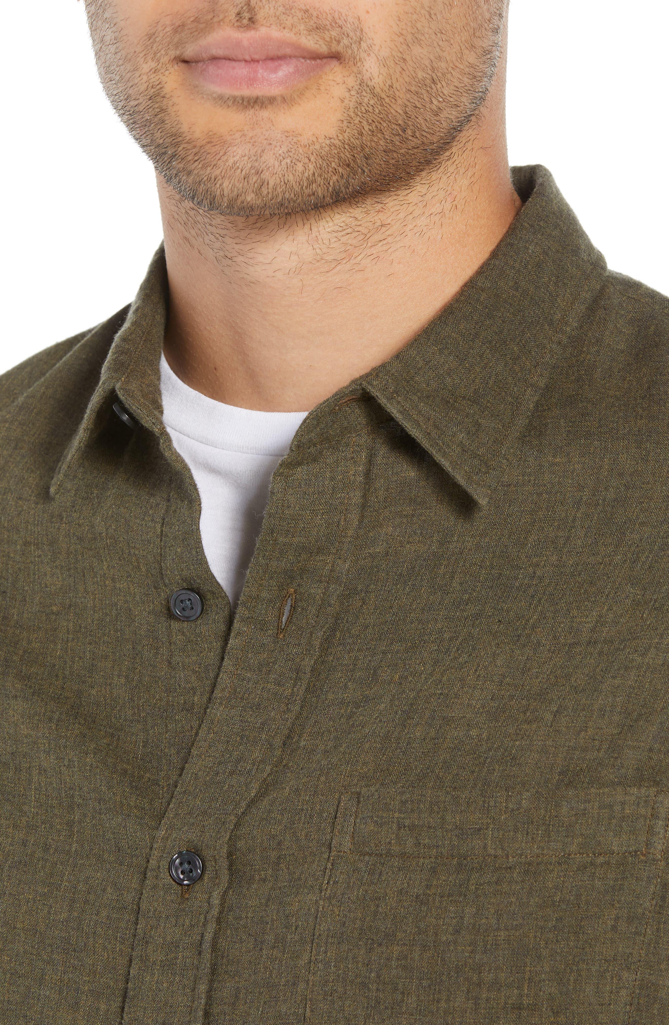 Classic Fit Double Knit Sport Shirt,                             Alternate thumbnail 2, color,                             H OLIVE