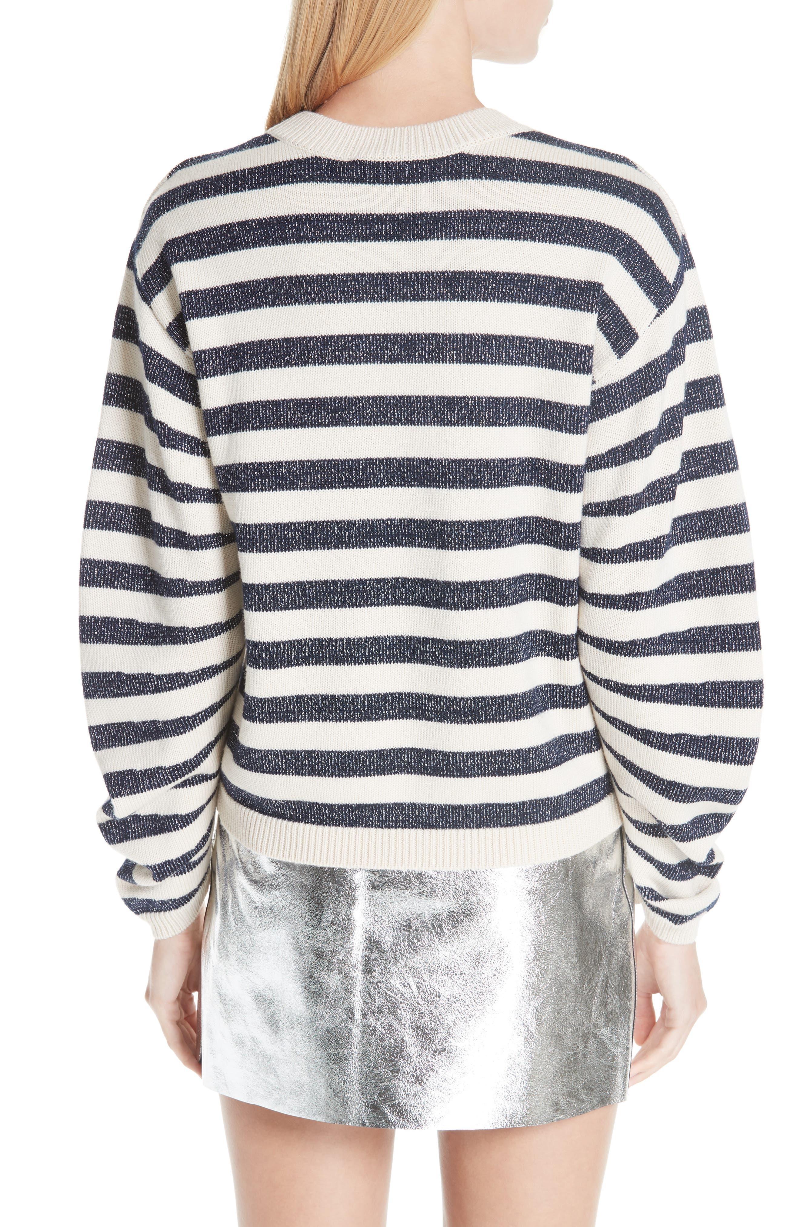 Sunday Stripe Wool Blend Sweater,                             Alternate thumbnail 2, color,                             WHITE