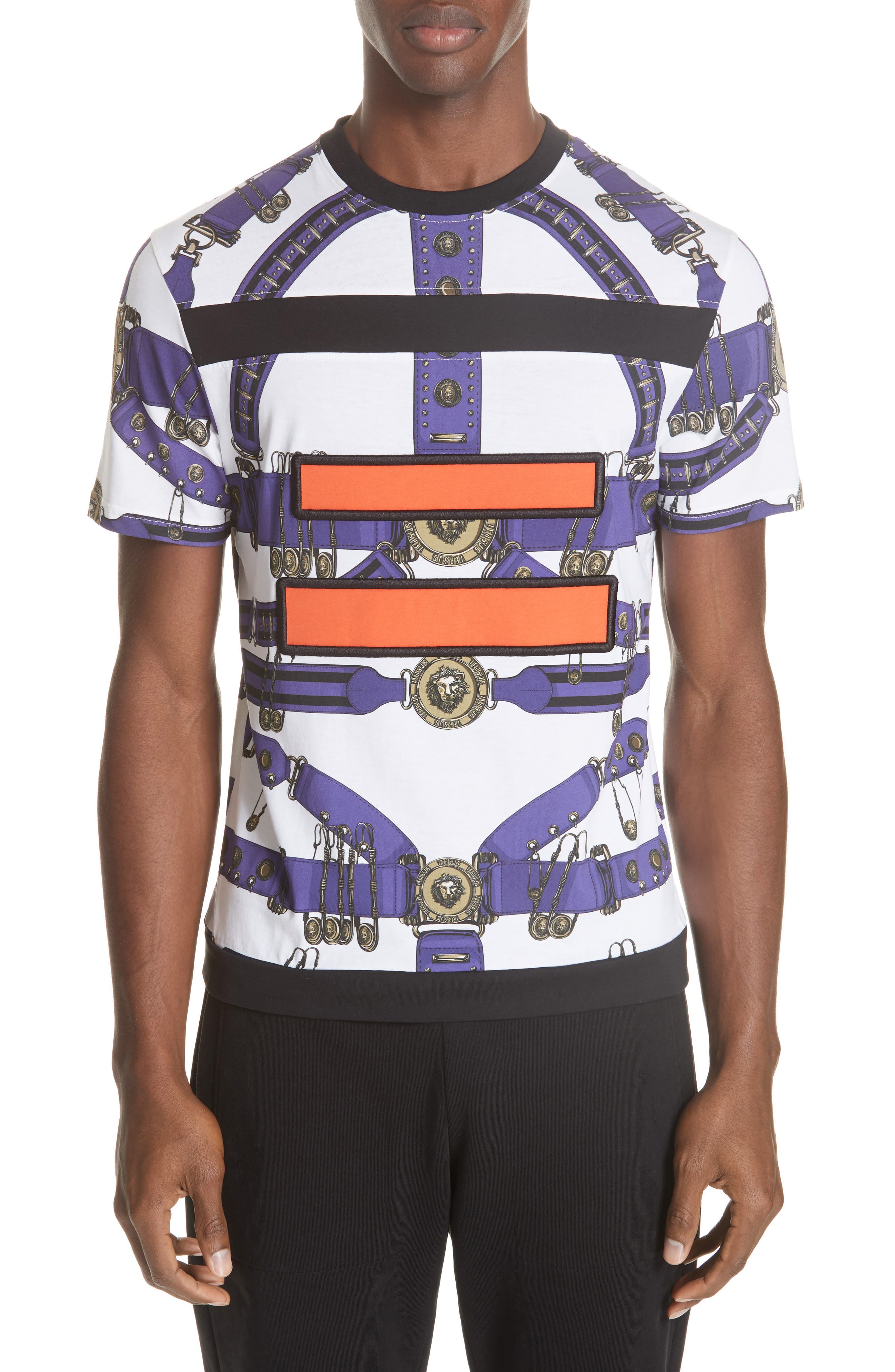 Safety Pin Harness T-Shirt,                         Main,                         color, PURPLE AND WHITE
