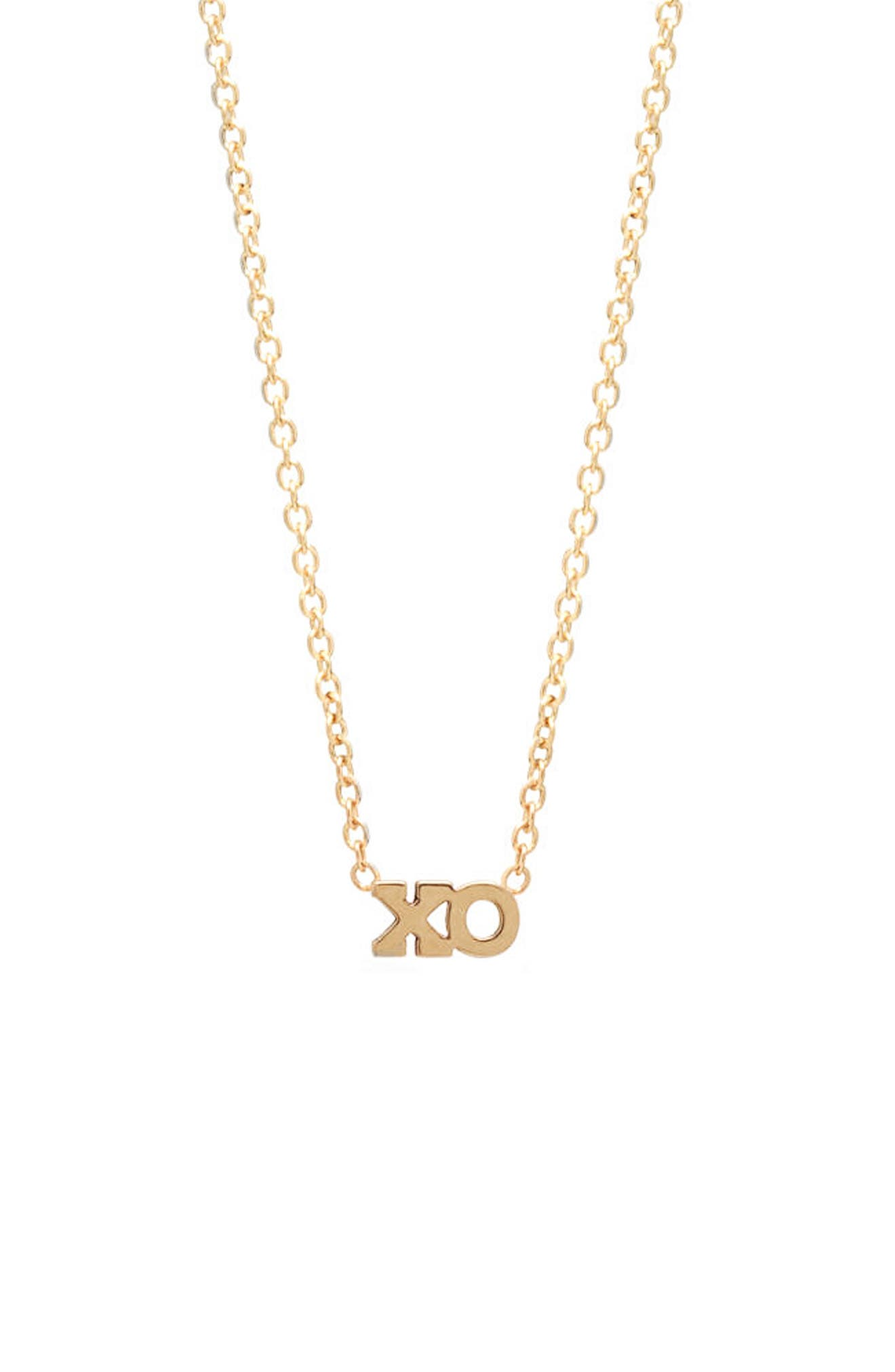 XO Pendant Necklace,                             Main thumbnail 1, color,                             YELLOW GOLD