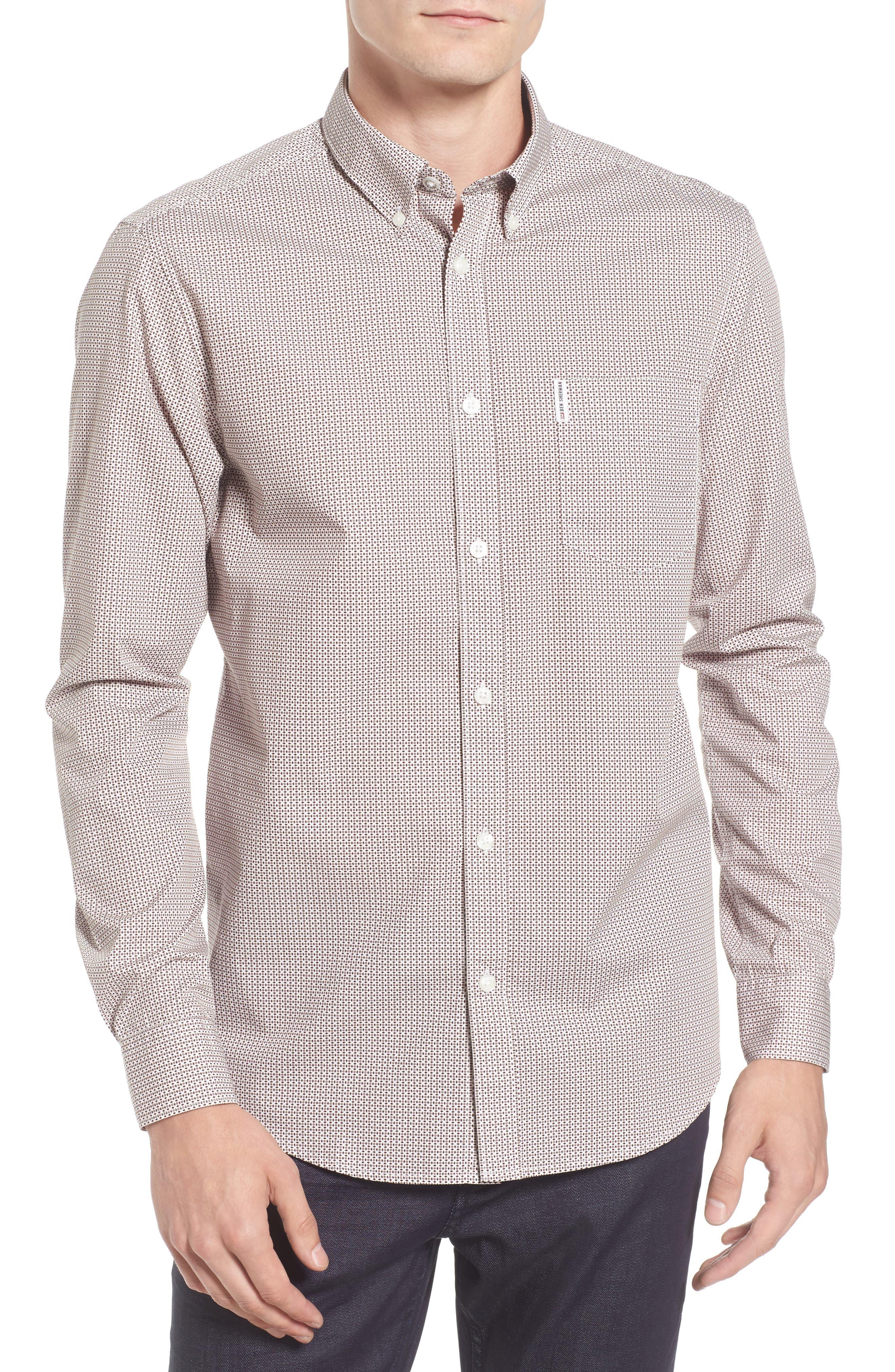 Micro Diamond Print Sport Shirt,                         Main,                         color, 101