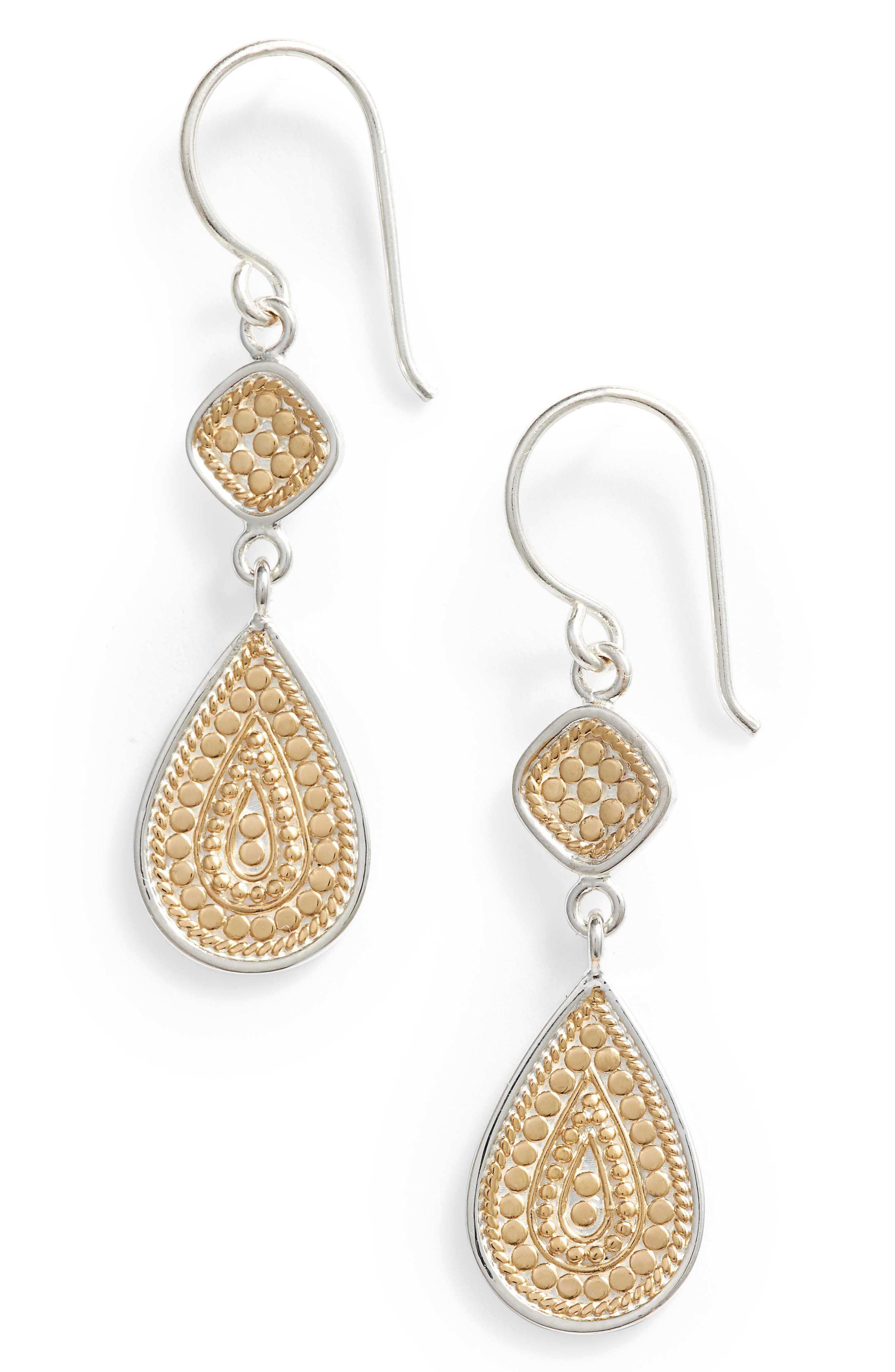 ANNA BECK Double Drop Earrings in Gold/ Silver