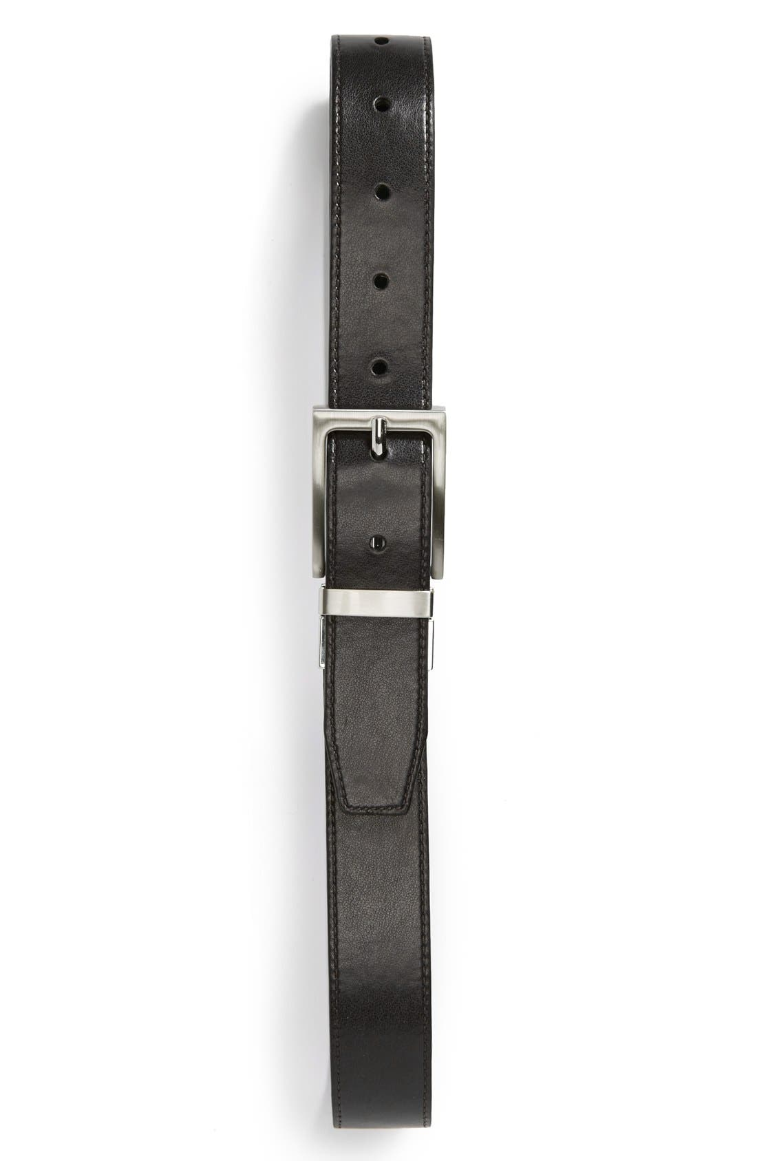 Reversible Faux Leather Belt,                             Main thumbnail 1, color,                             BLACK