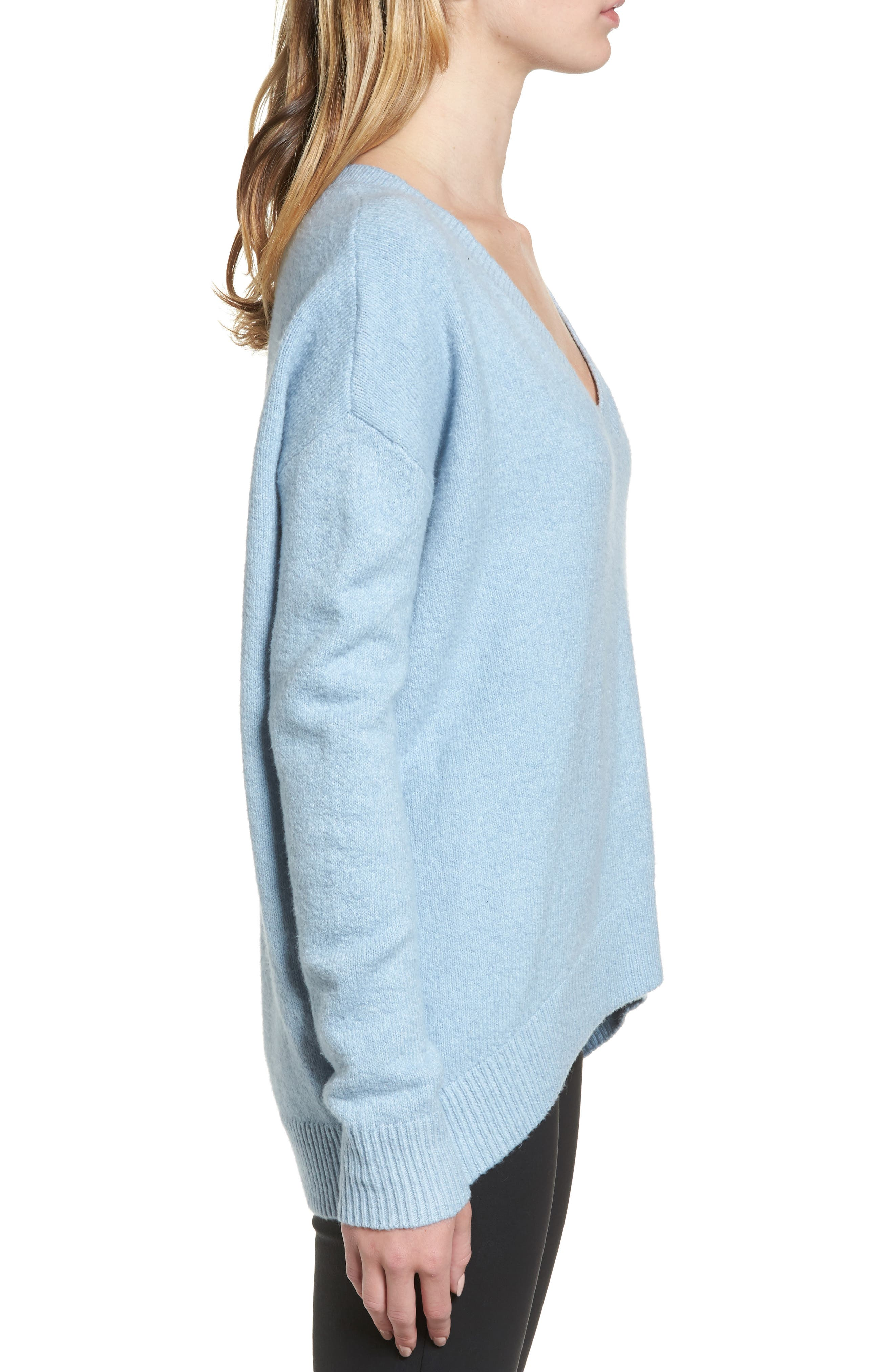 V-Neck High/Low Sweater,                             Alternate thumbnail 8, color,