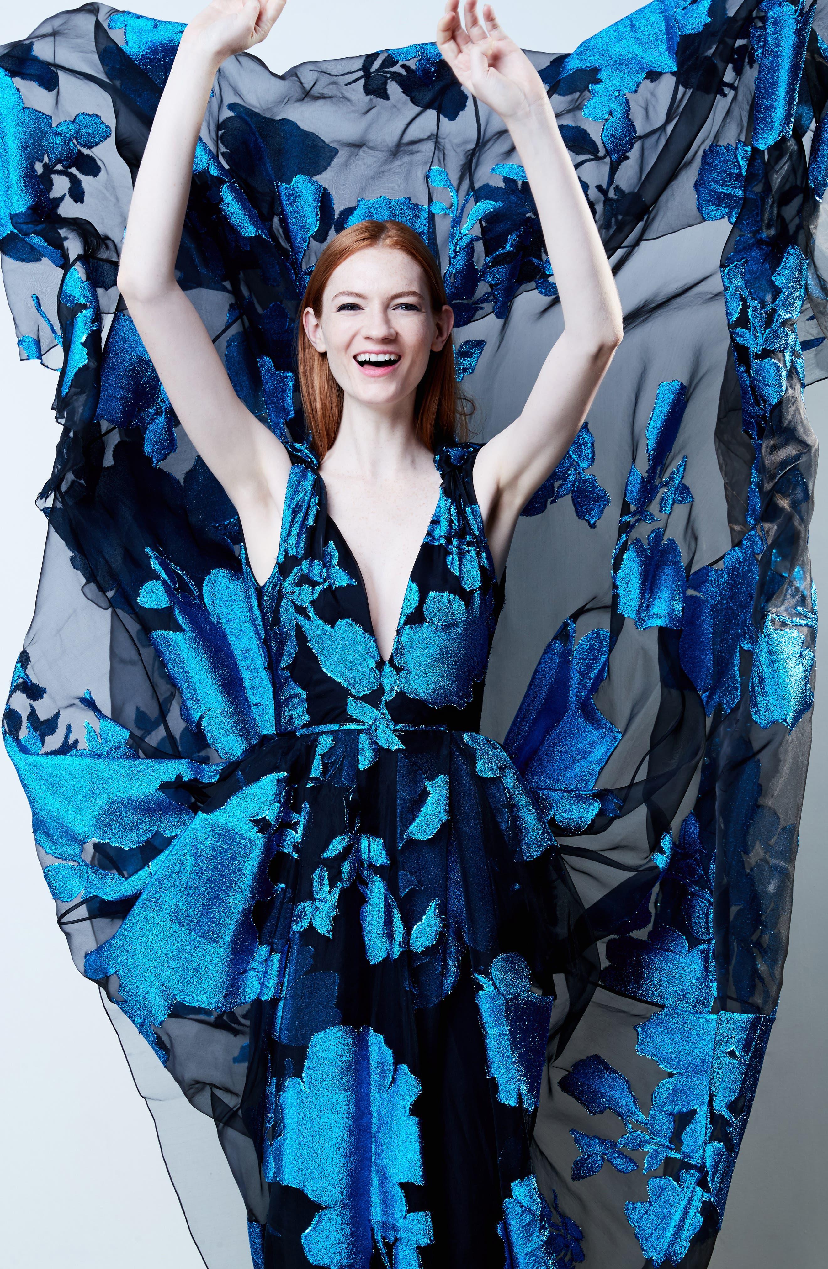 Metallic Floral Chiffon Gown,                             Alternate thumbnail 6, color,                             001