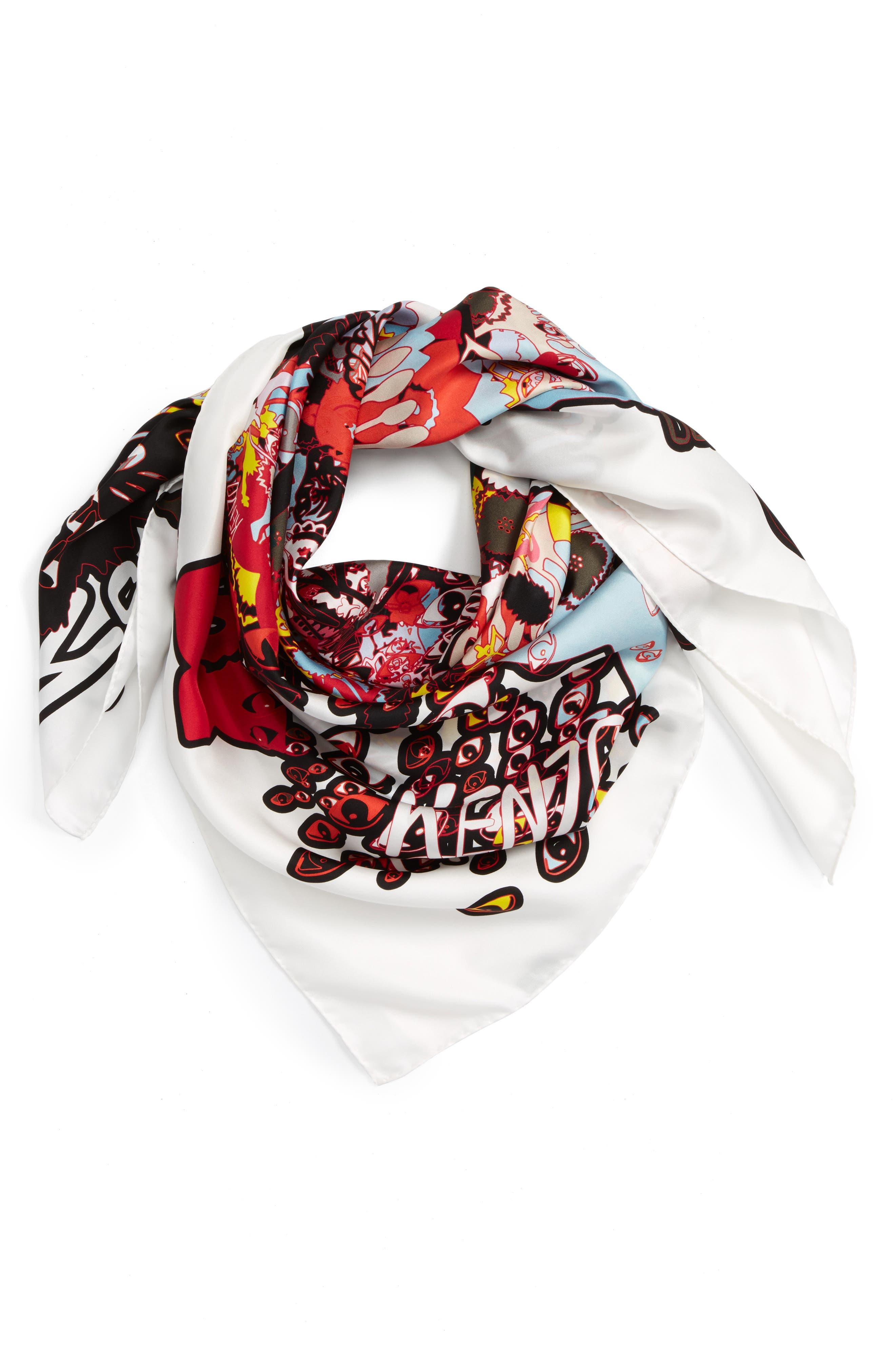 Graphic Silk Scarf,                         Main,                         color, 001