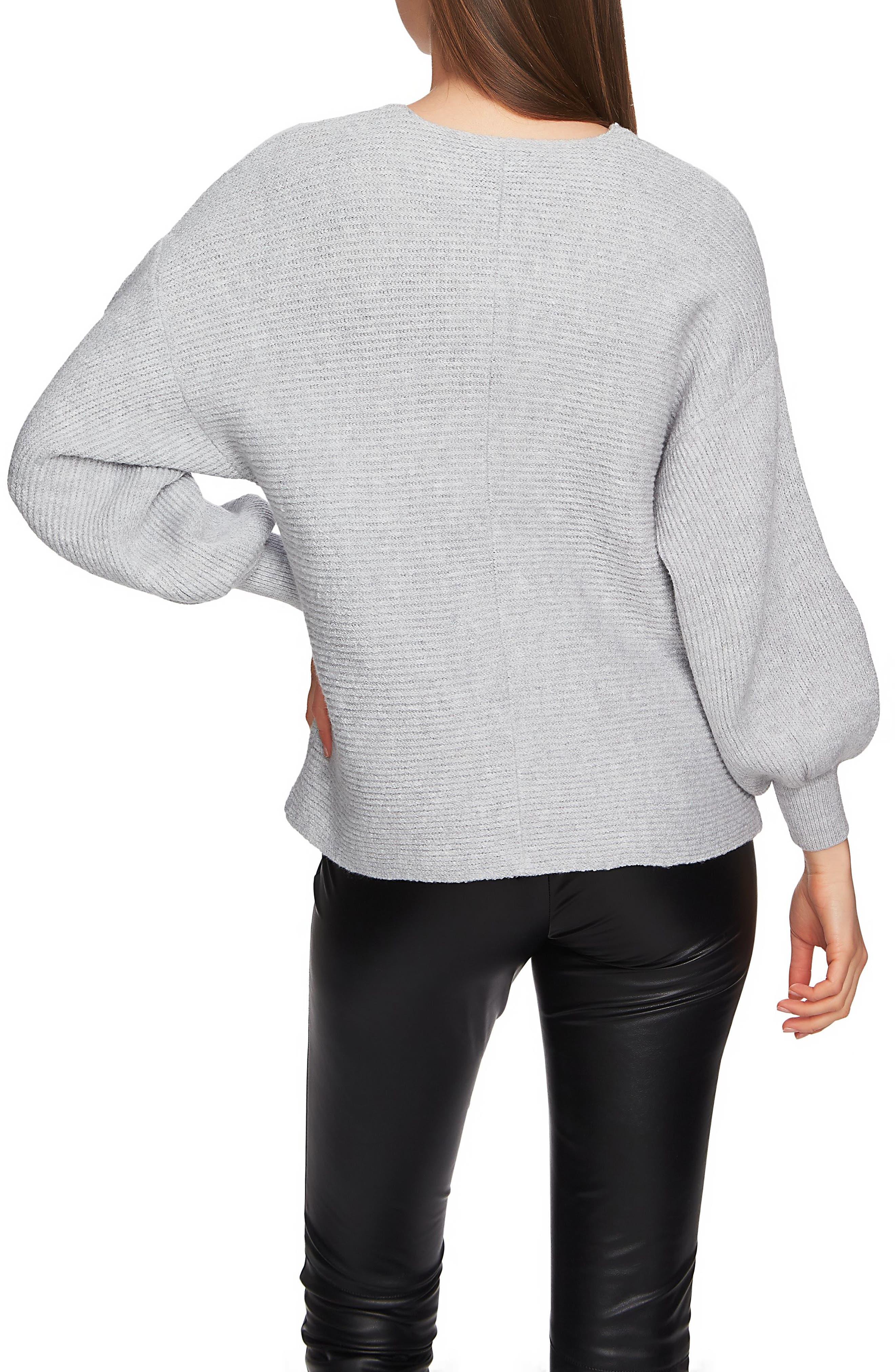 Blouson Sleeve V-Neck Sweater,                             Alternate thumbnail 2, color,                             LIGHT HEATHER GREY