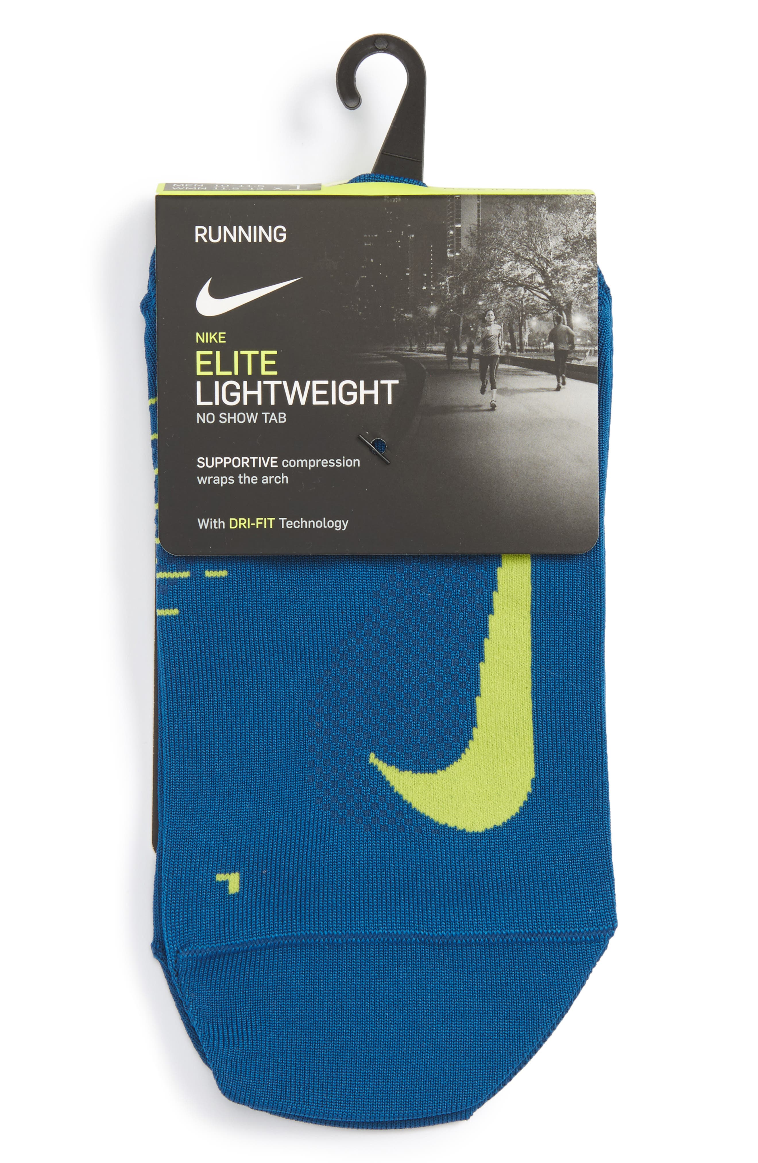 'Elite' Lightweight No-Show Tab Running Socks,                             Alternate thumbnail 3, color,                             447