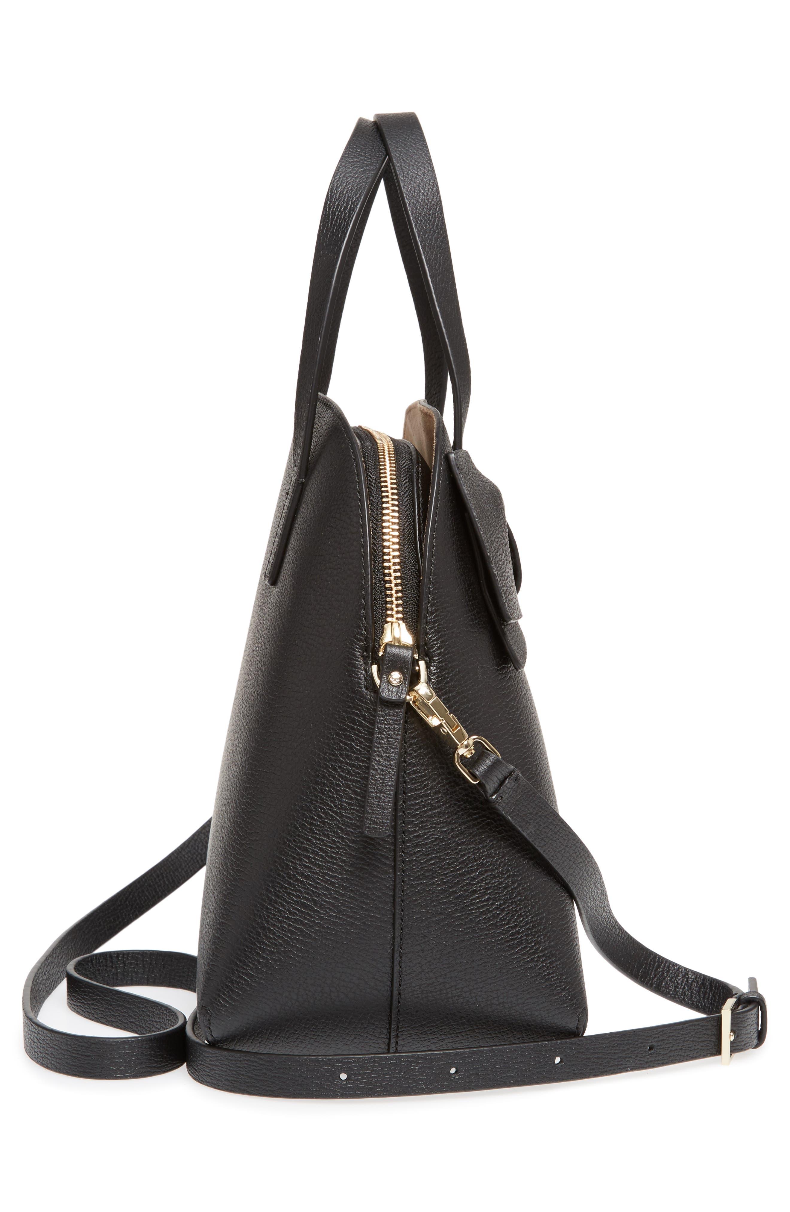 KATE SPADE NEW YORK,                             olive drive lottie leather satchel,                             Alternate thumbnail 5, color,                             001