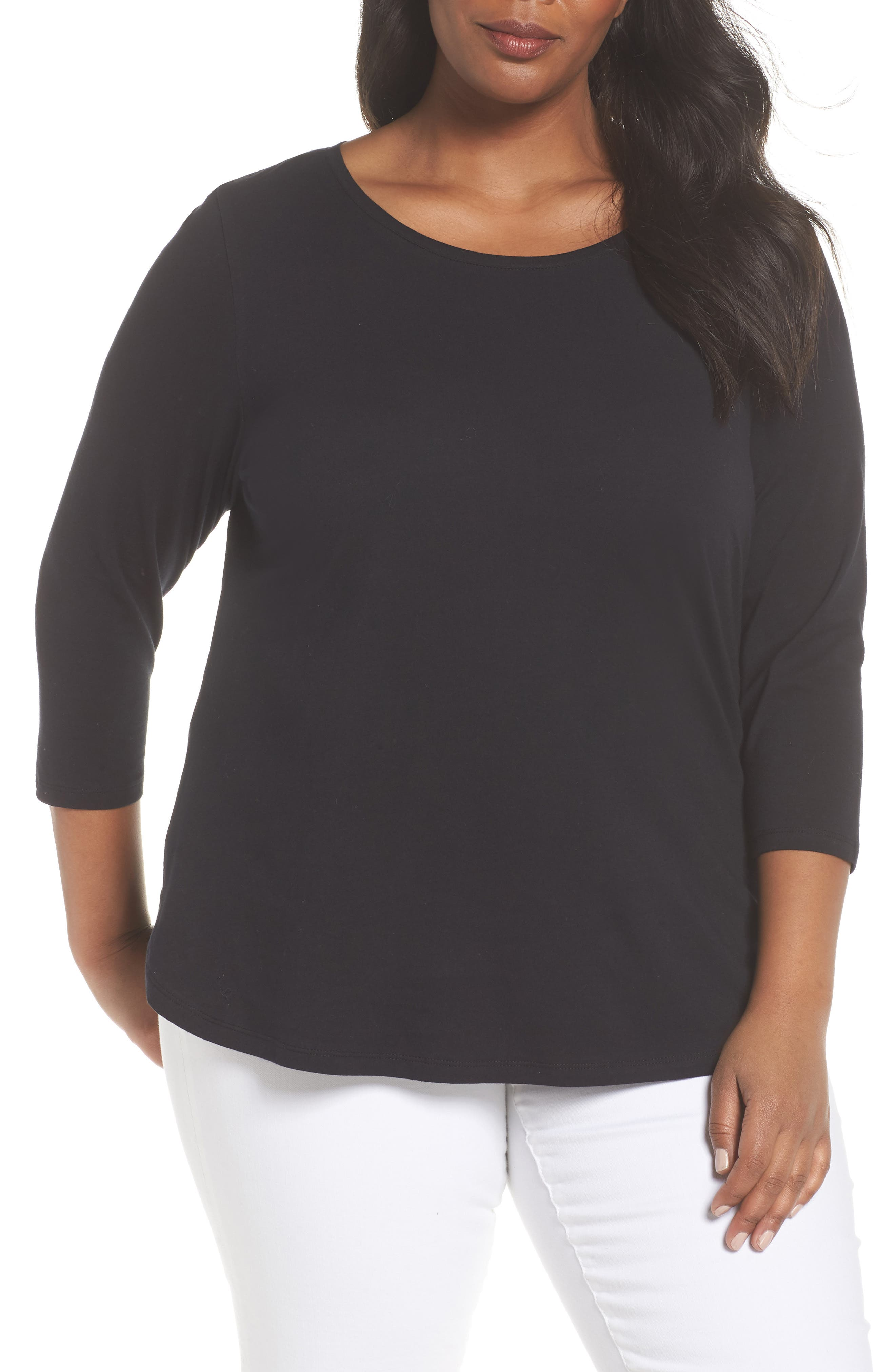 Curved Hem Tee,                         Main,                         color, BLACK