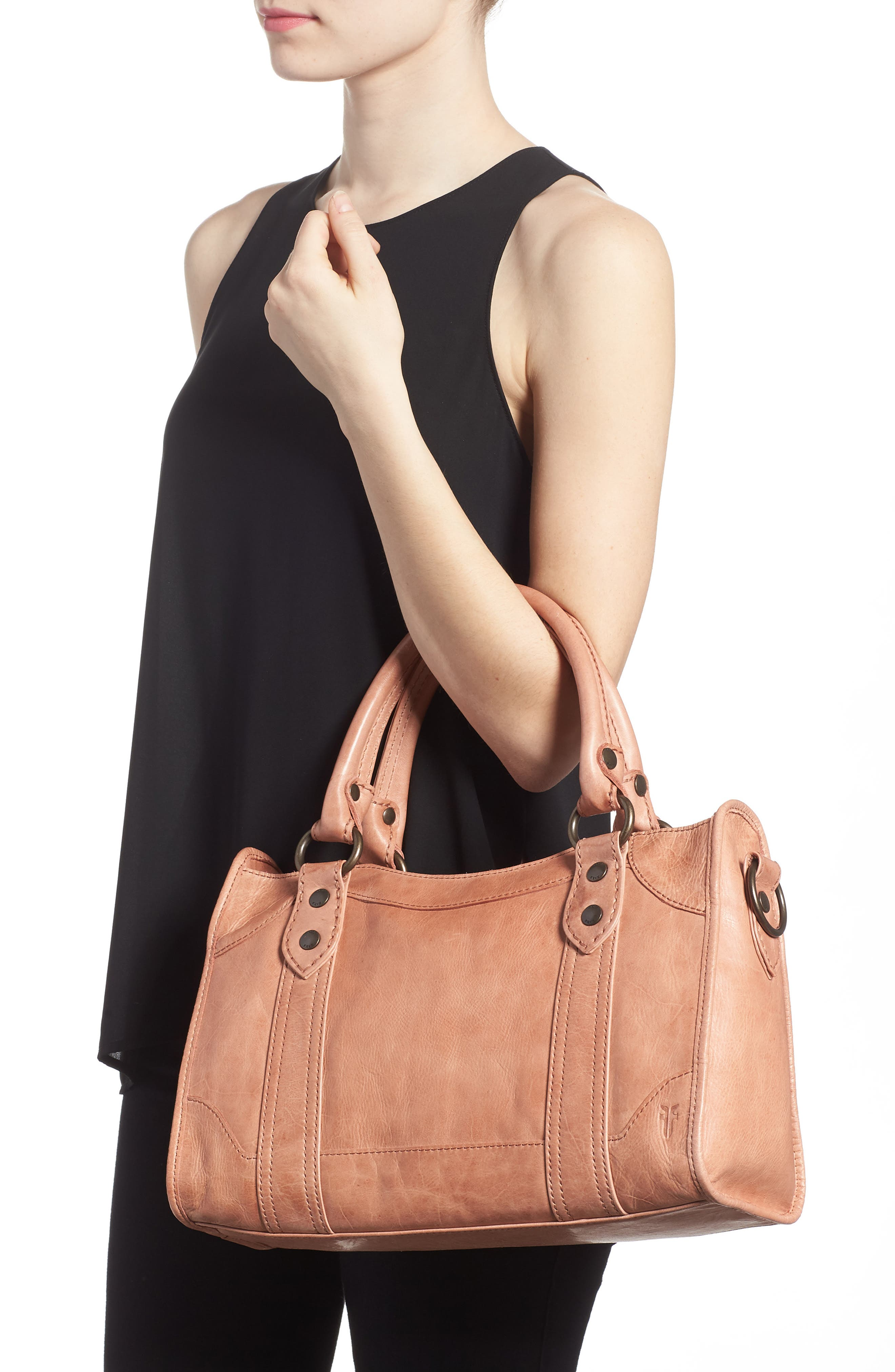 'Melissa' Washed Leather Satchel,                             Alternate thumbnail 2, color,                             DUSTY ROSE
