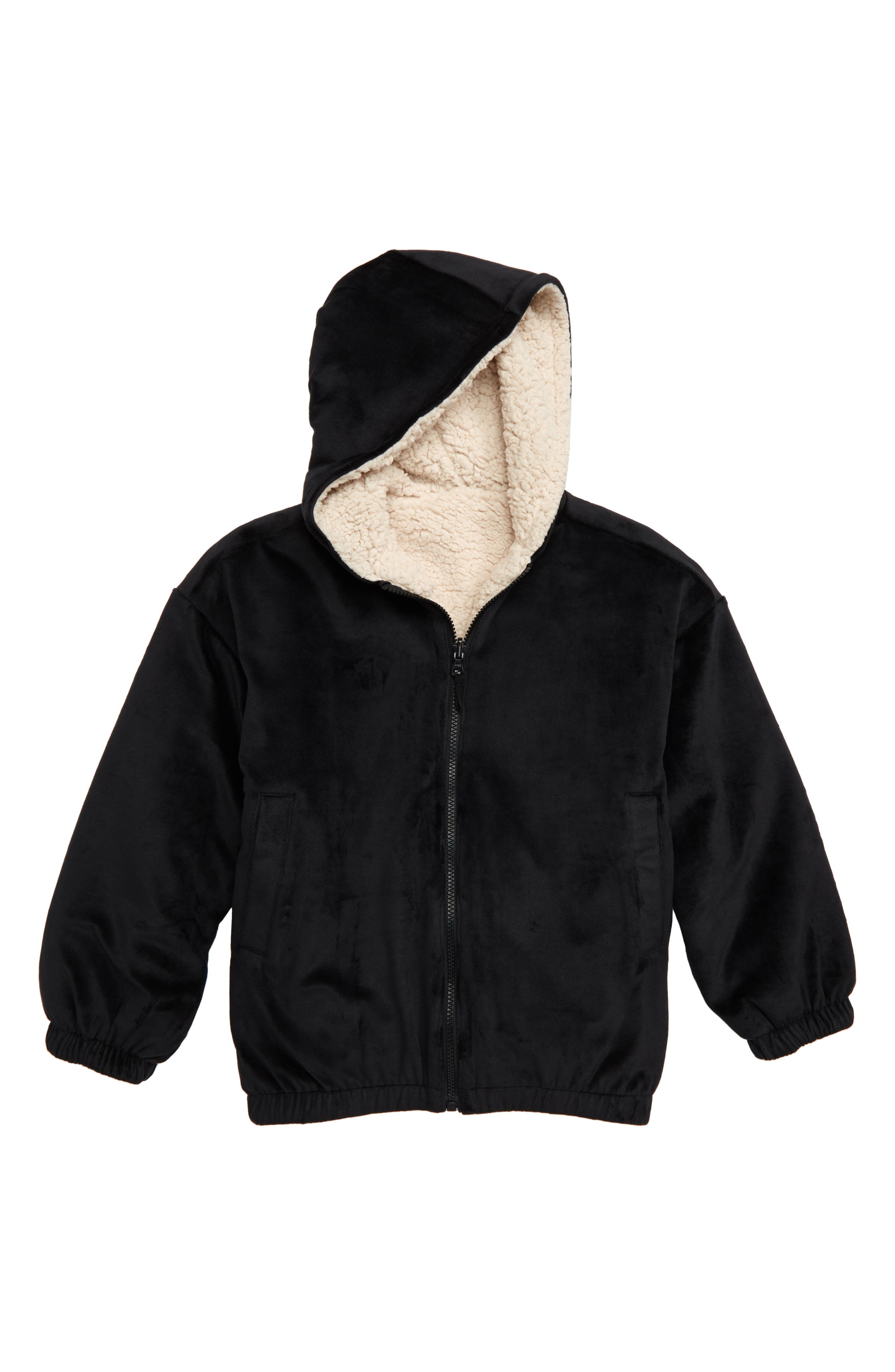Reversible Hooded Jacket,                             Main thumbnail 1, color,                             BLACK
