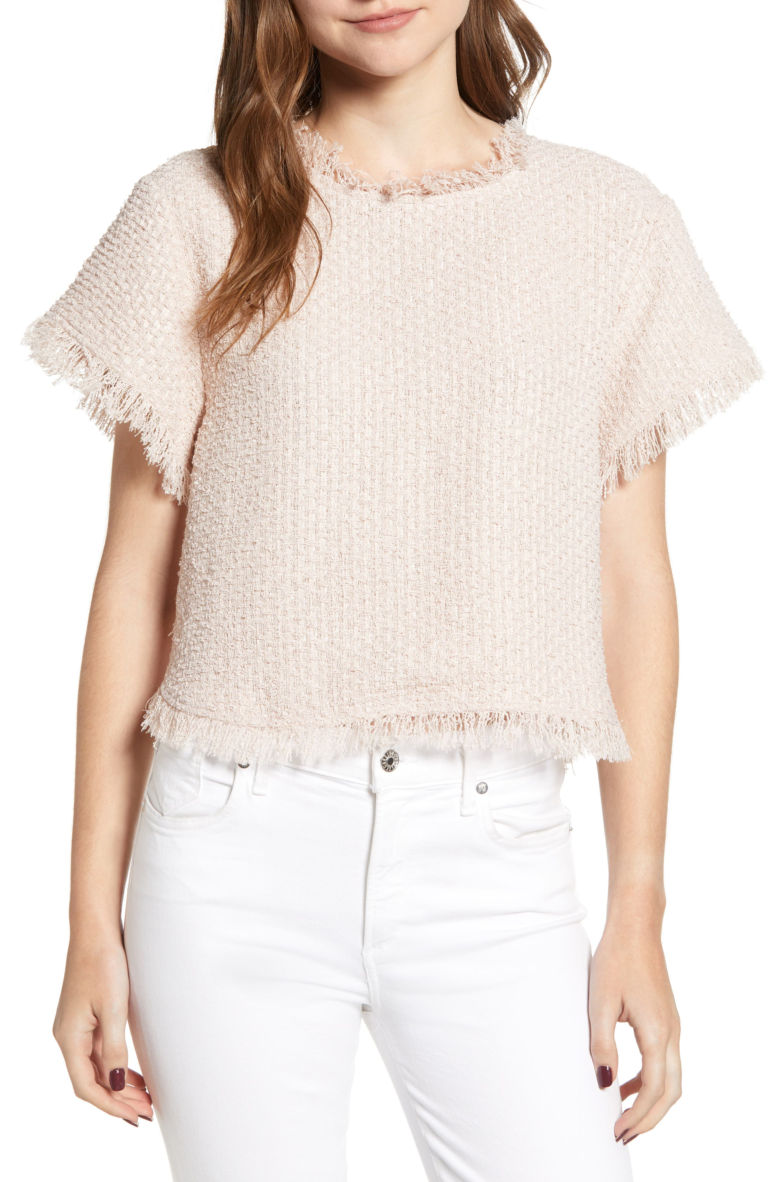 CUPCAKES AND CASHMERE Justeen Cropped Tweed Top in Tea Rose