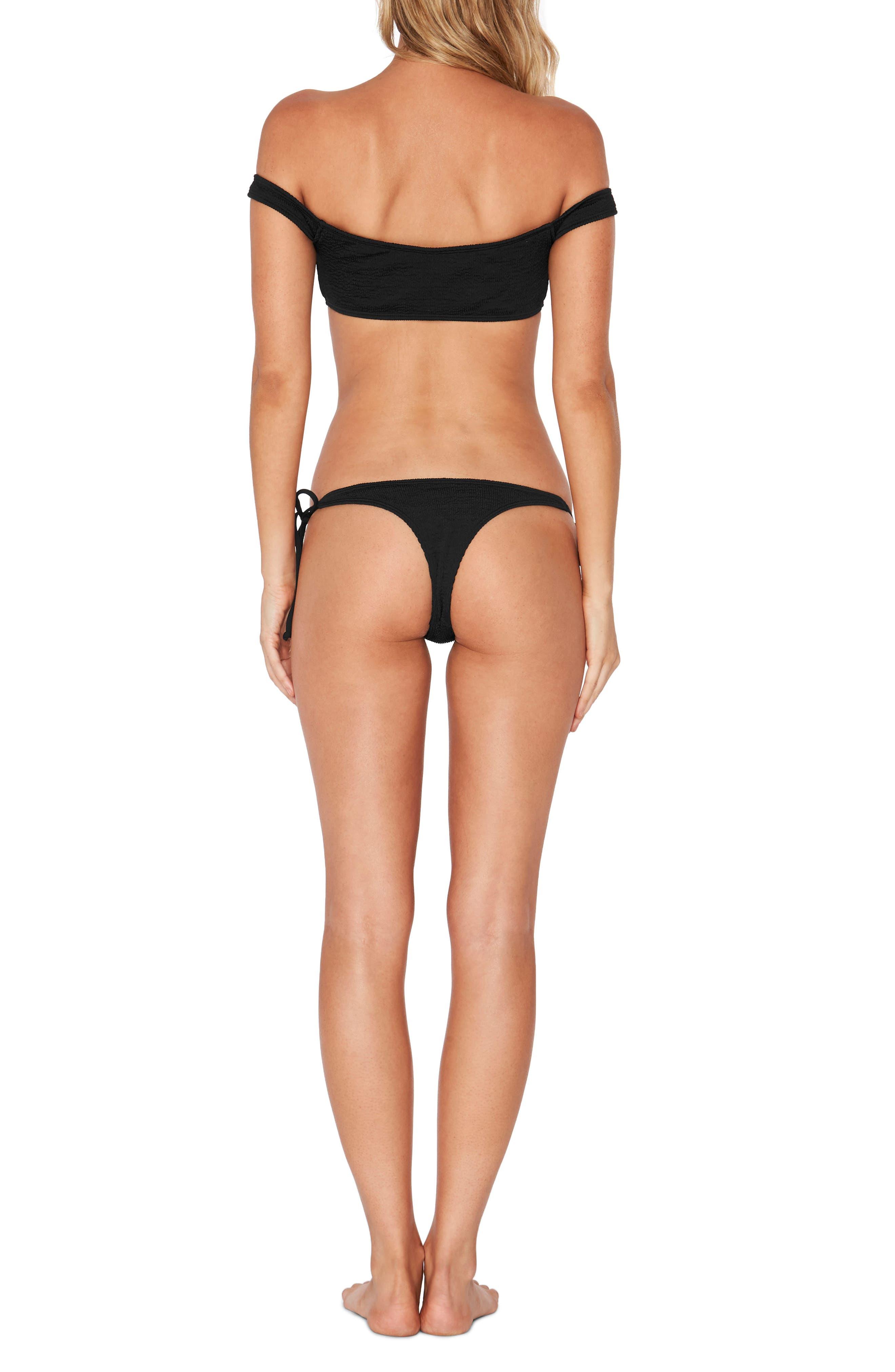 Lily Pucker Tie Side Bikini Bottoms,                             Alternate thumbnail 5, color,                             001