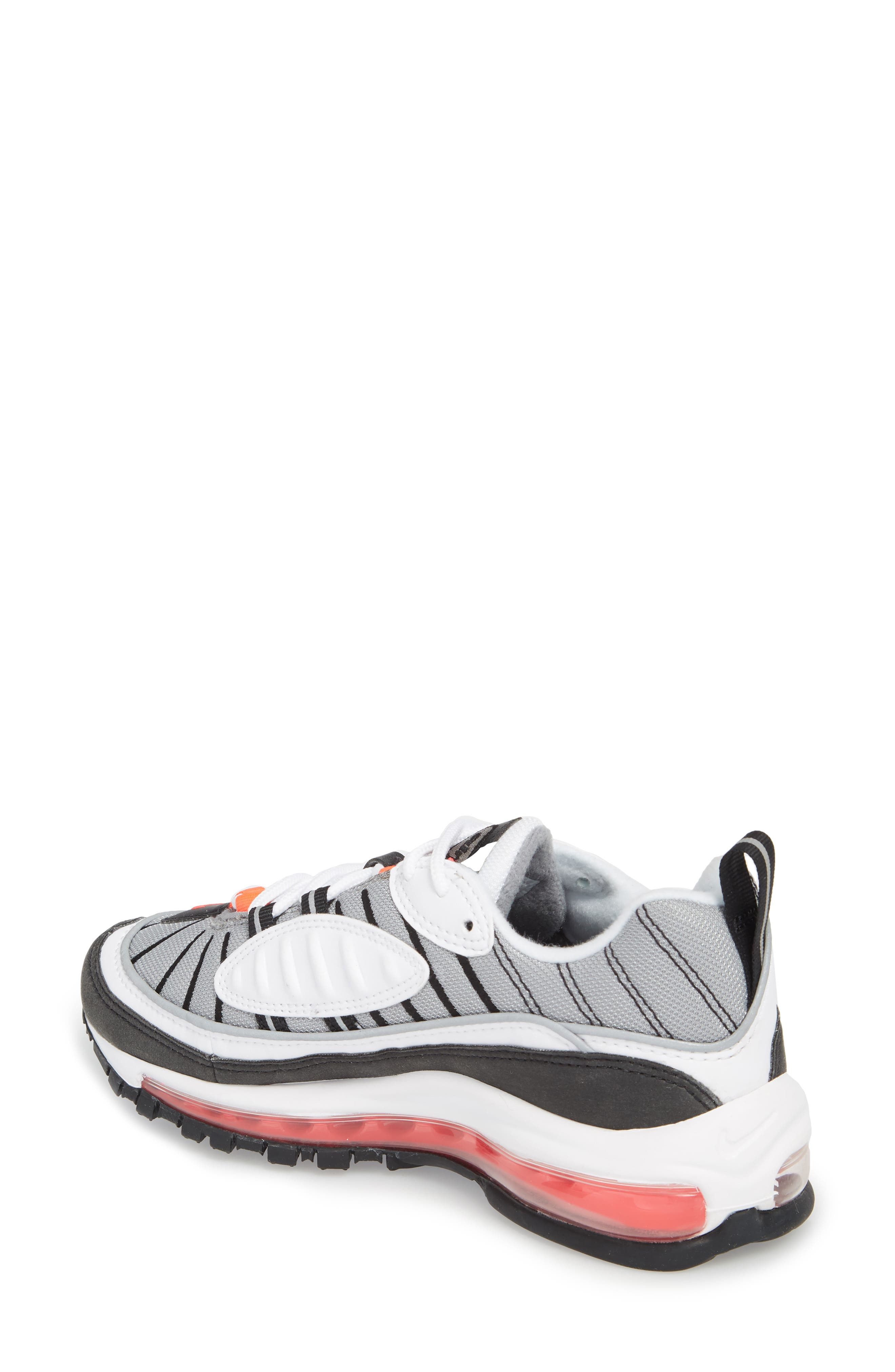 Air Max 98 Running Shoe,                             Alternate thumbnail 2, color,                             WHITE/ RED/ DUST/ REFLECT