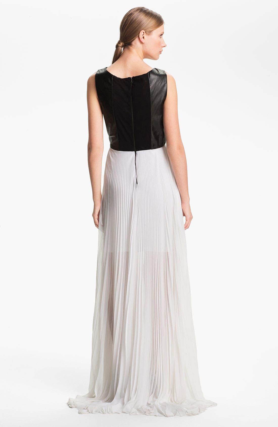 ALICE + OLIVIA,                             Leather Bodice & Chiffon Dress,                             Alternate thumbnail 3, color,                             009