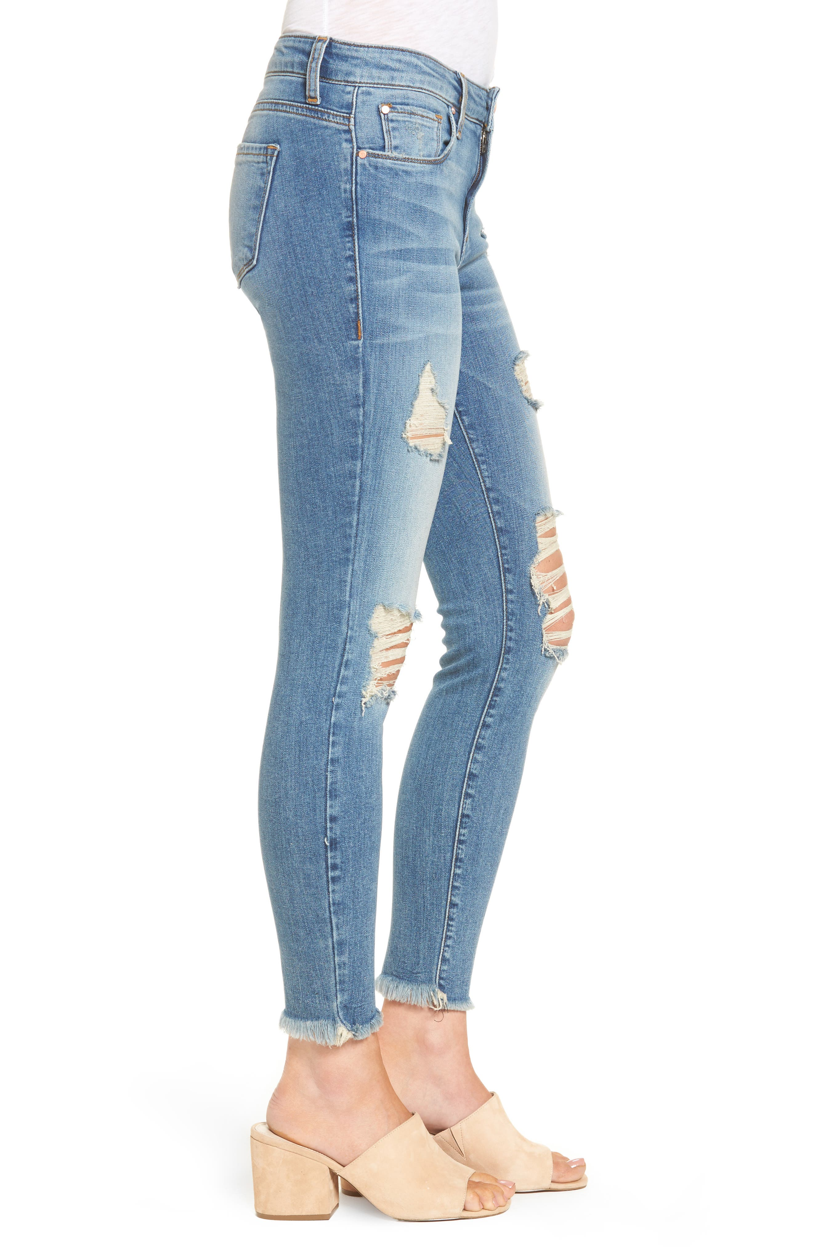 Ripped Crop Skinny Jeans,                             Alternate thumbnail 3, color,                             420