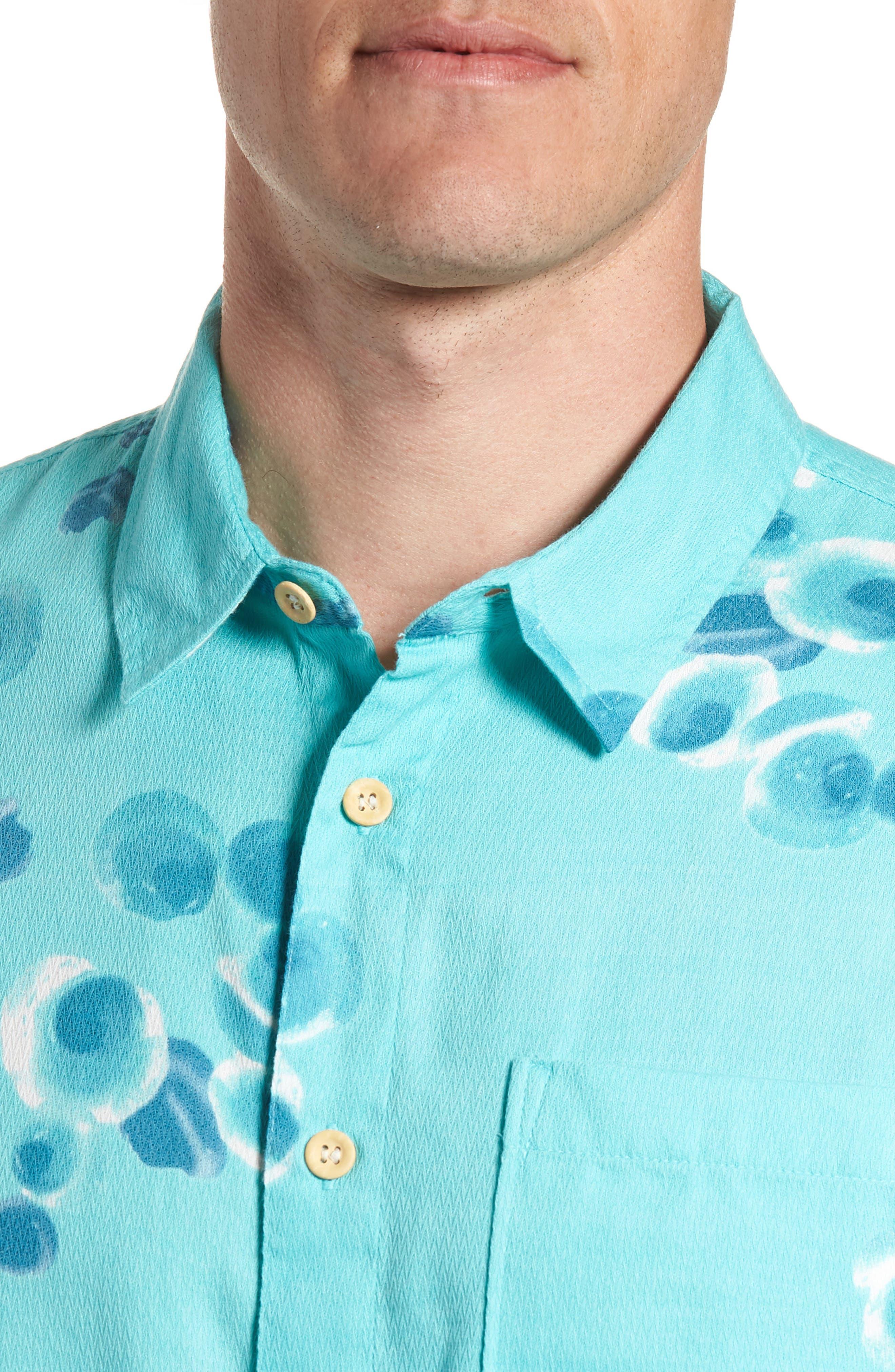 Plumes Dune Regular Fit Sport Shirt,                             Alternate thumbnail 4, color,                             BLUE RADIANCE