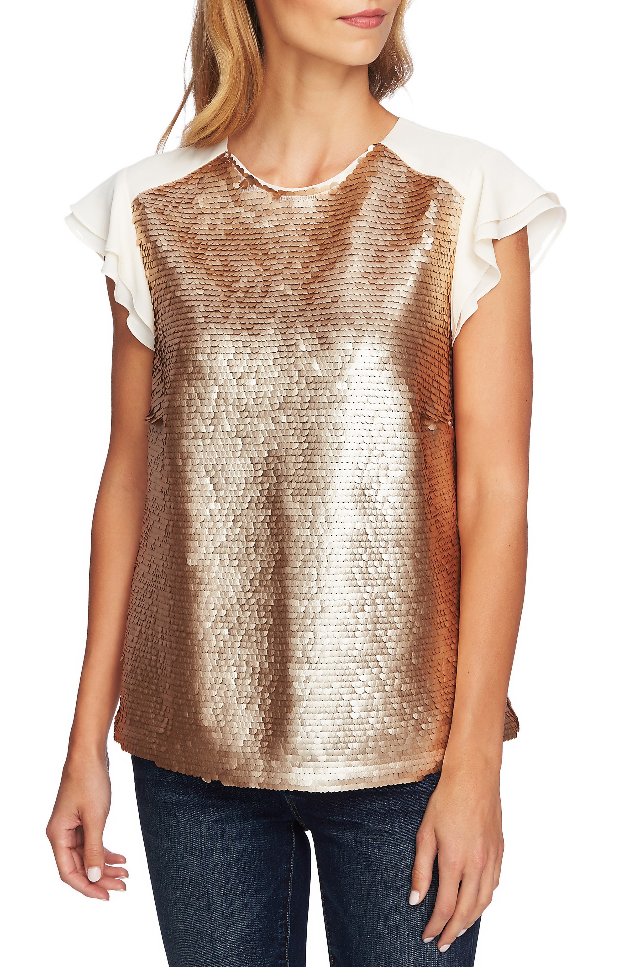 Sequin Flutter Sleeve Top,                             Main thumbnail 1, color,                             710