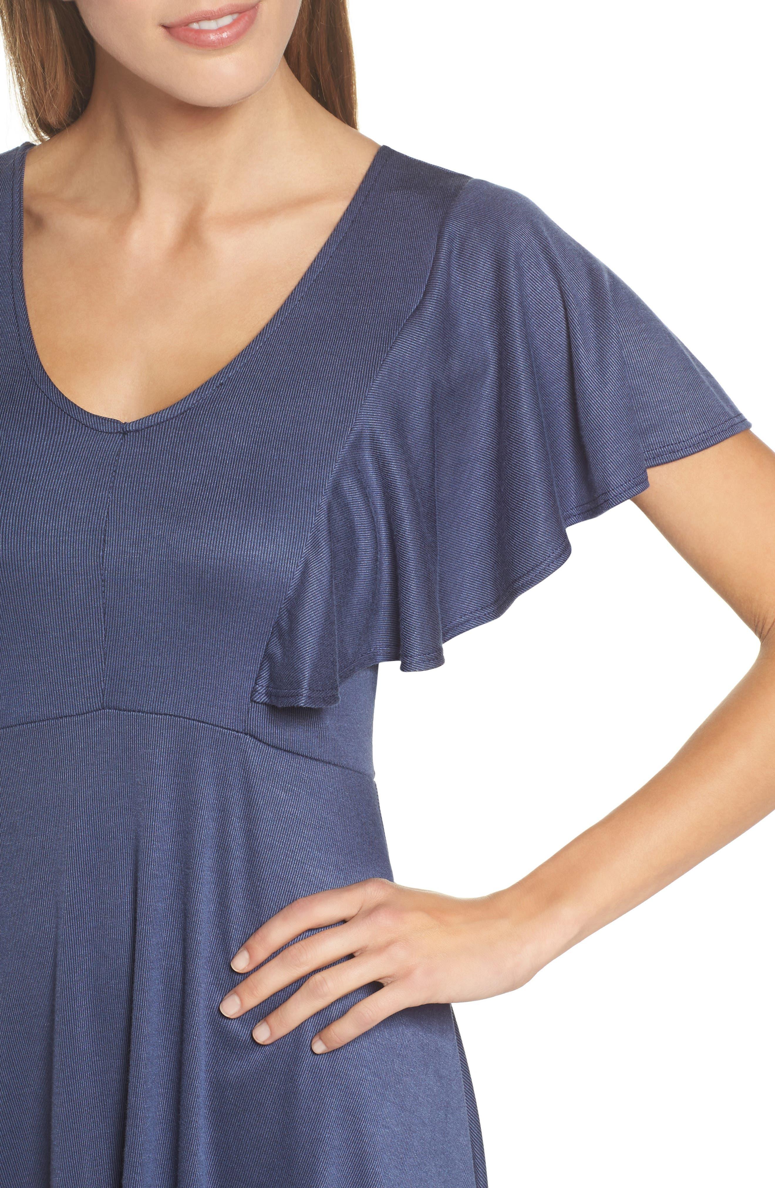 Flutter Sleeve Knit Dress,                             Alternate thumbnail 4, color,                             420