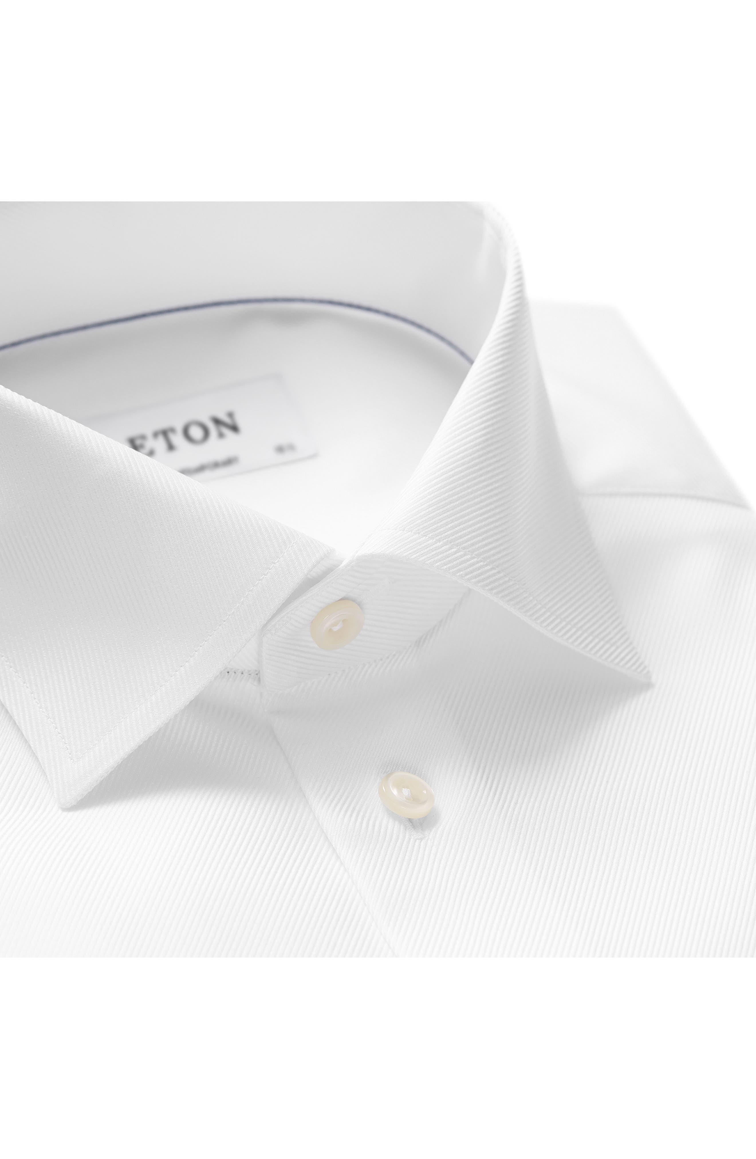 Contemporary Fit Cavalry Twill Dress Shirt,                             Alternate thumbnail 3, color,                             WHITE