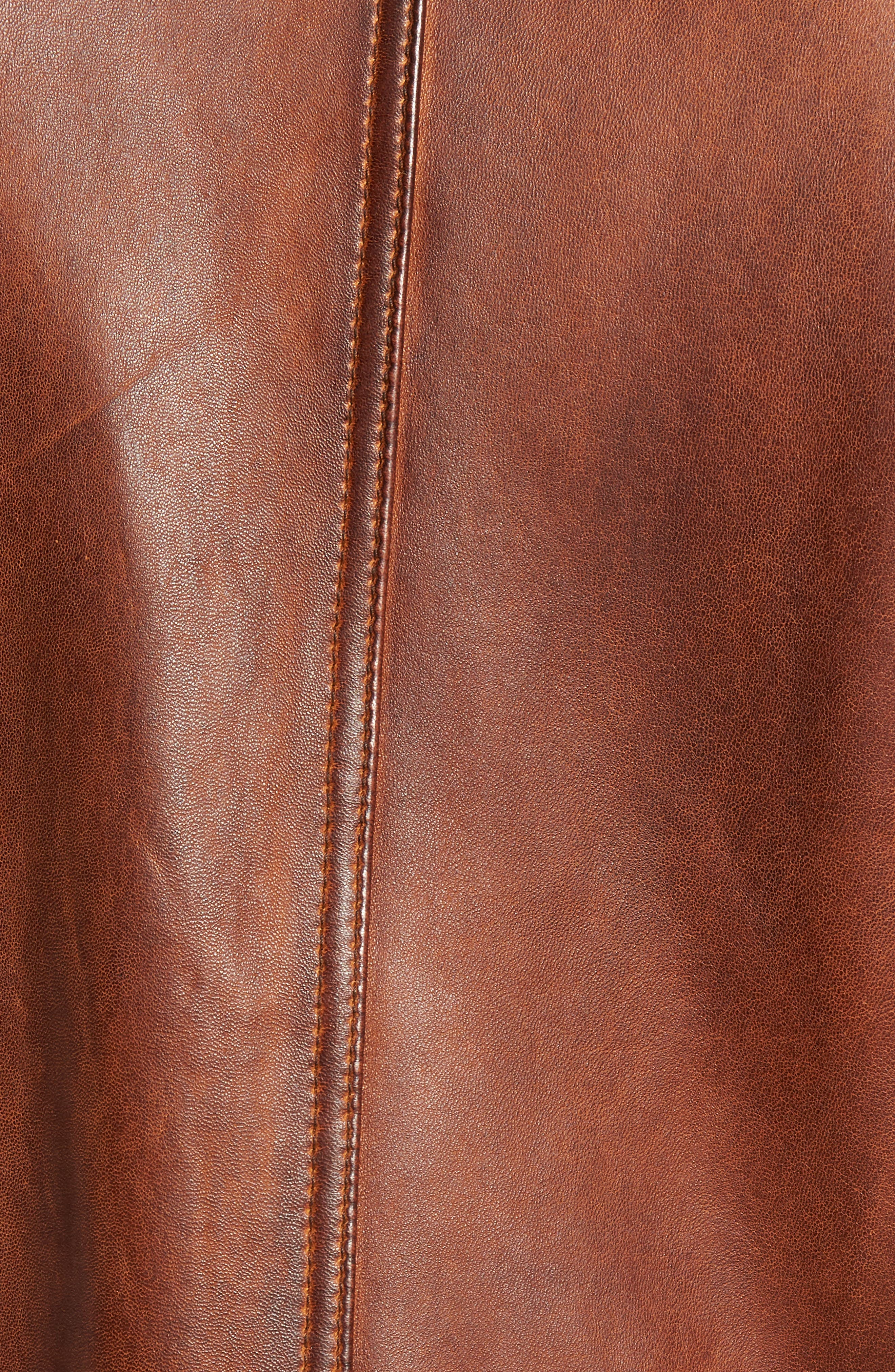 Leather Jacket,                             Alternate thumbnail 6, color,                             BROWN