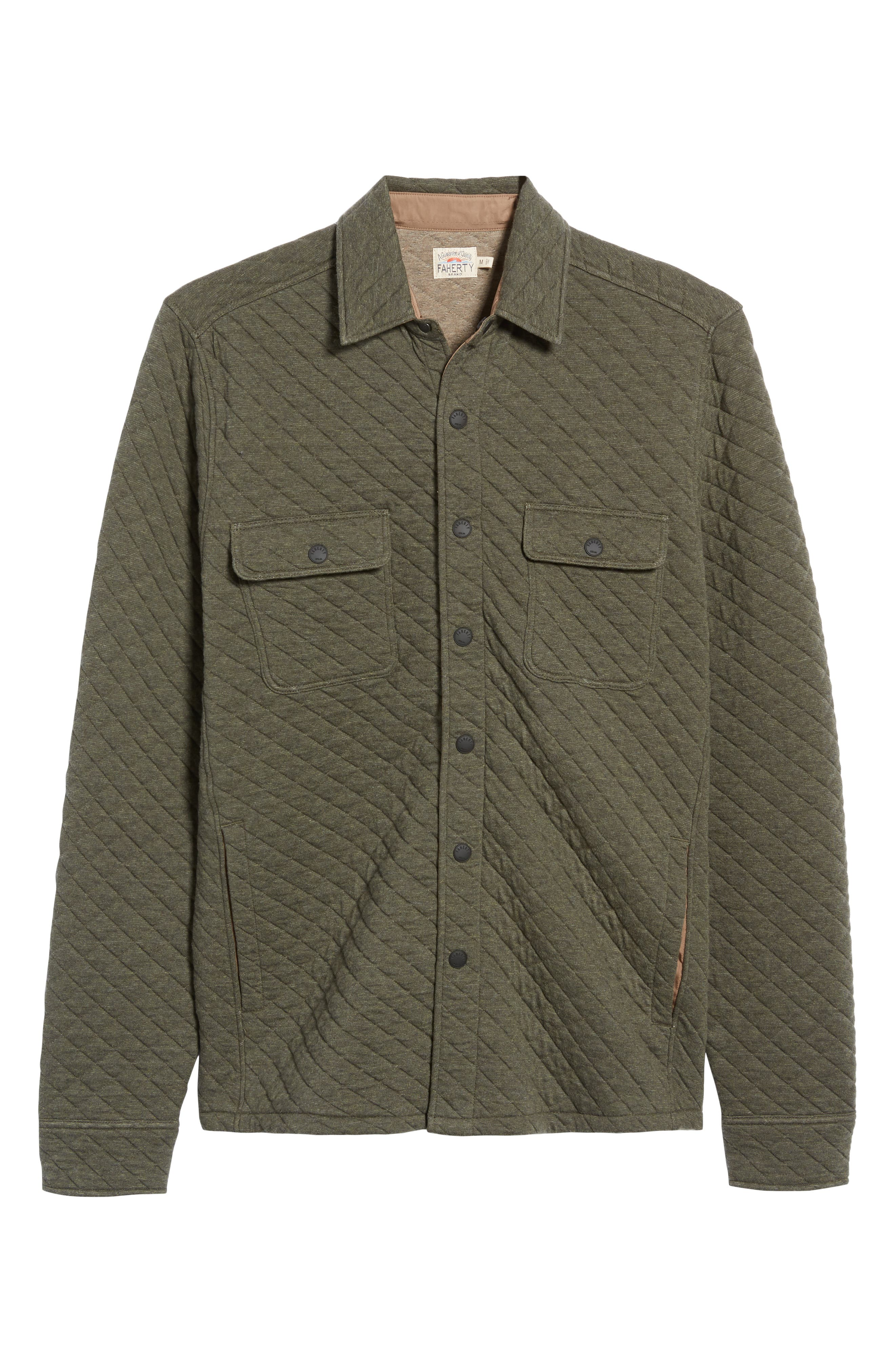 FAHERTY,                             Belmar Quilted Shirt Jacket,                             Alternate thumbnail 6, color,                             OLIVE HEATHER