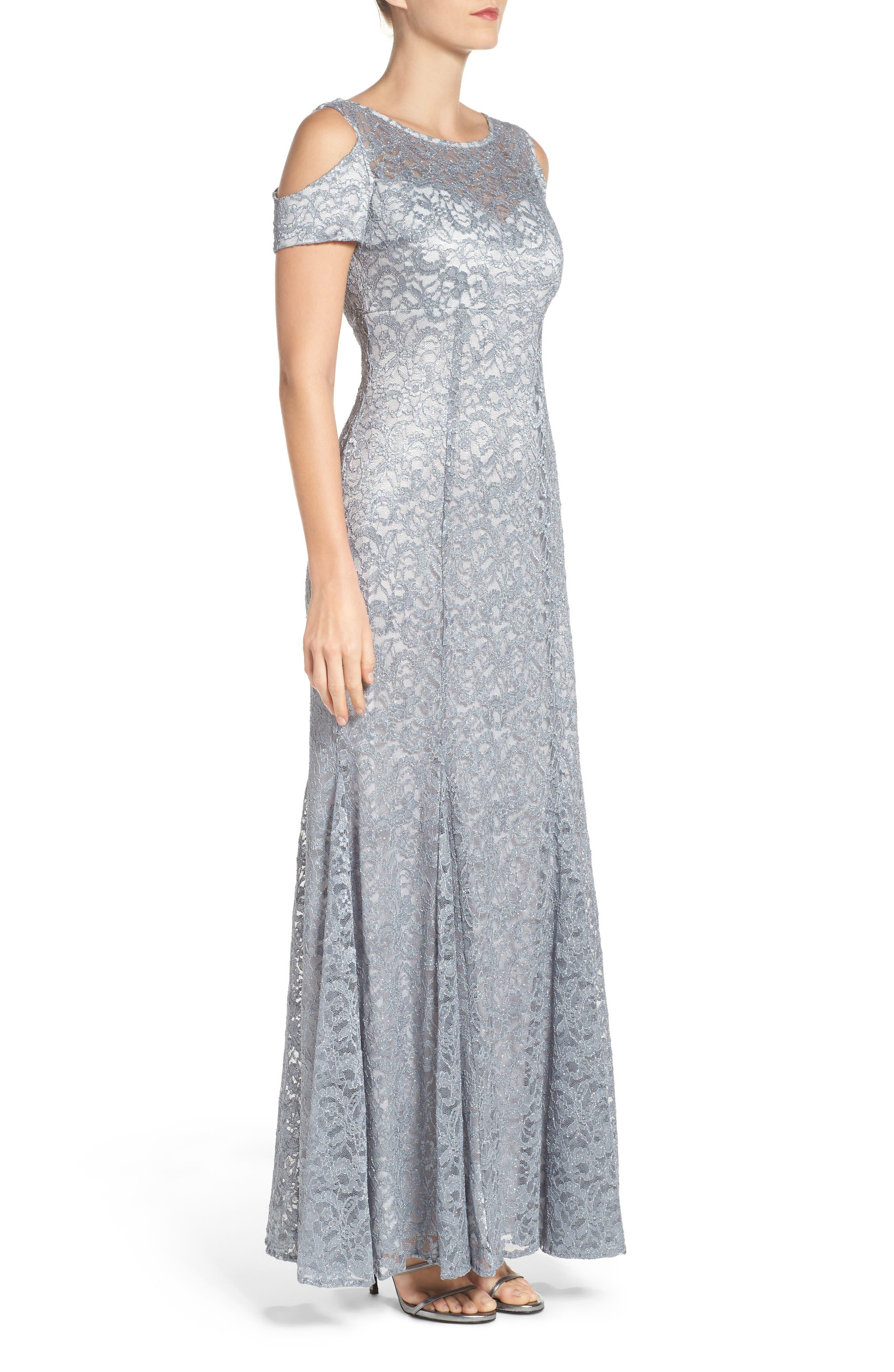 Cold Shoulder Lace Gown,                             Alternate thumbnail 5, color,