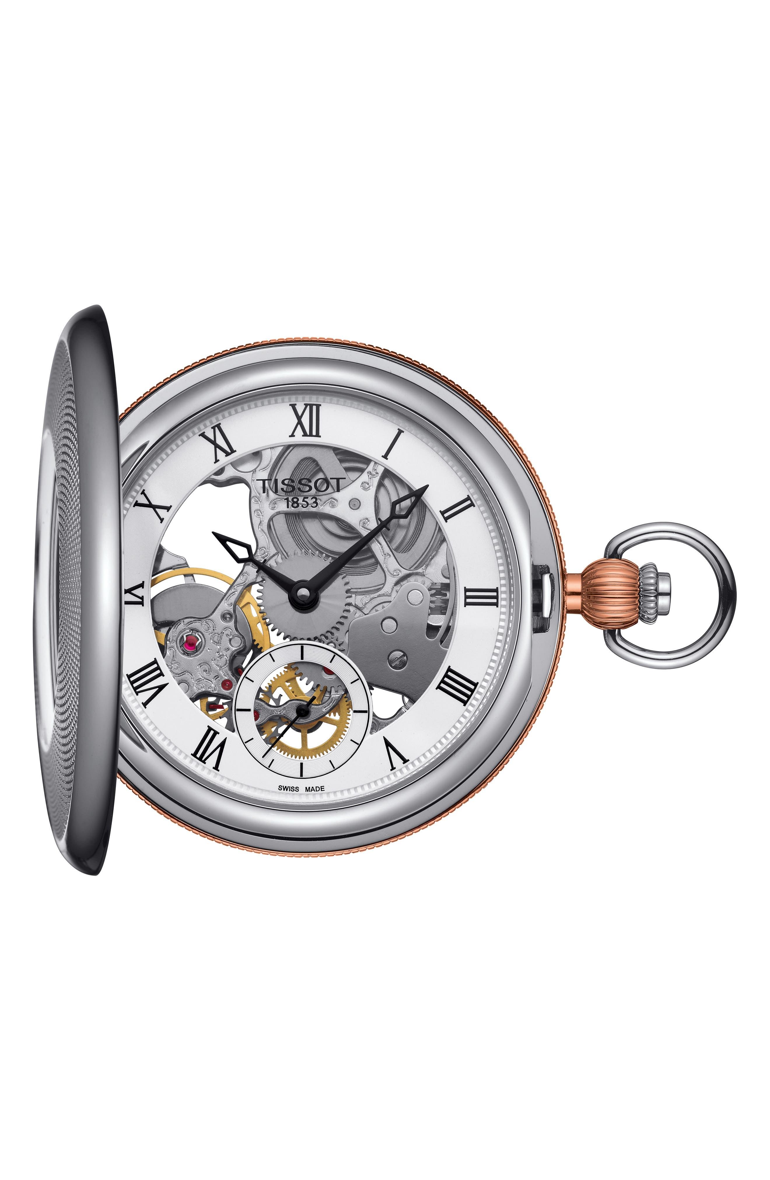 Bridgeport Mechanical Pocket Watch, 47mm,                             Main thumbnail 1, color,                             SILVER/ ROSE GOLD