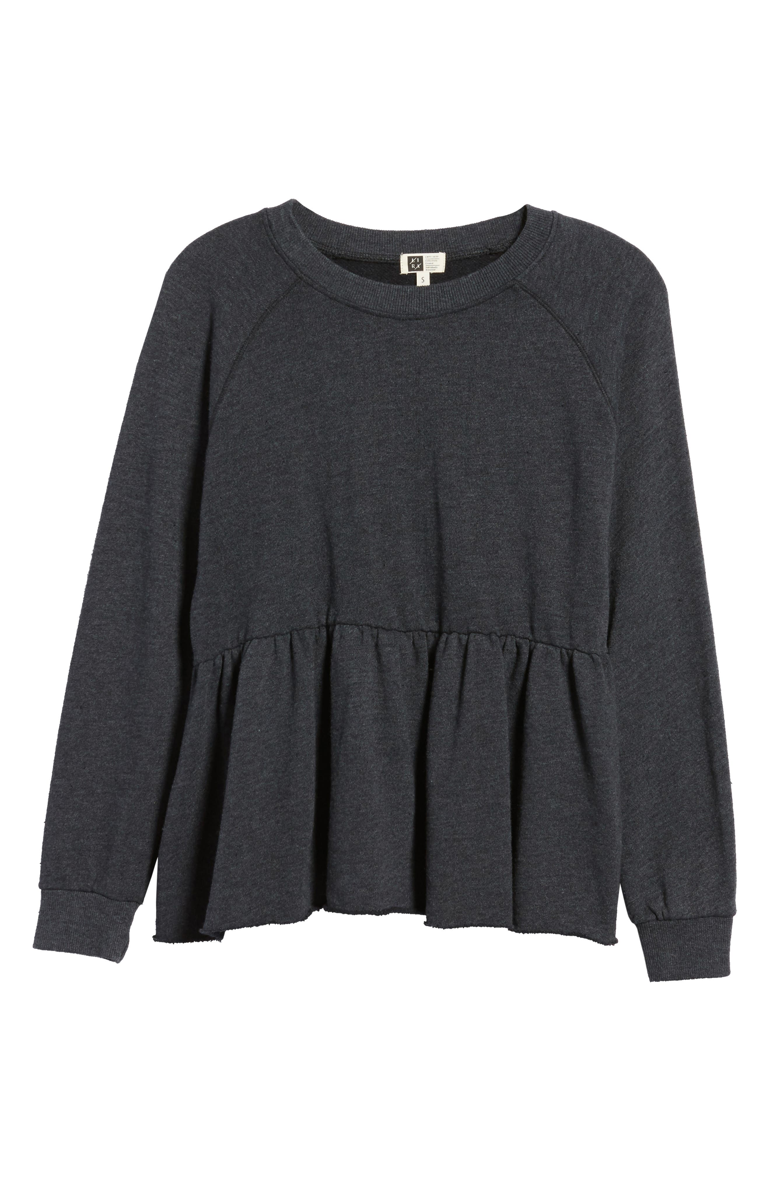 Viera Fleece Peplum Sweatshirt,                             Alternate thumbnail 6, color,                             020