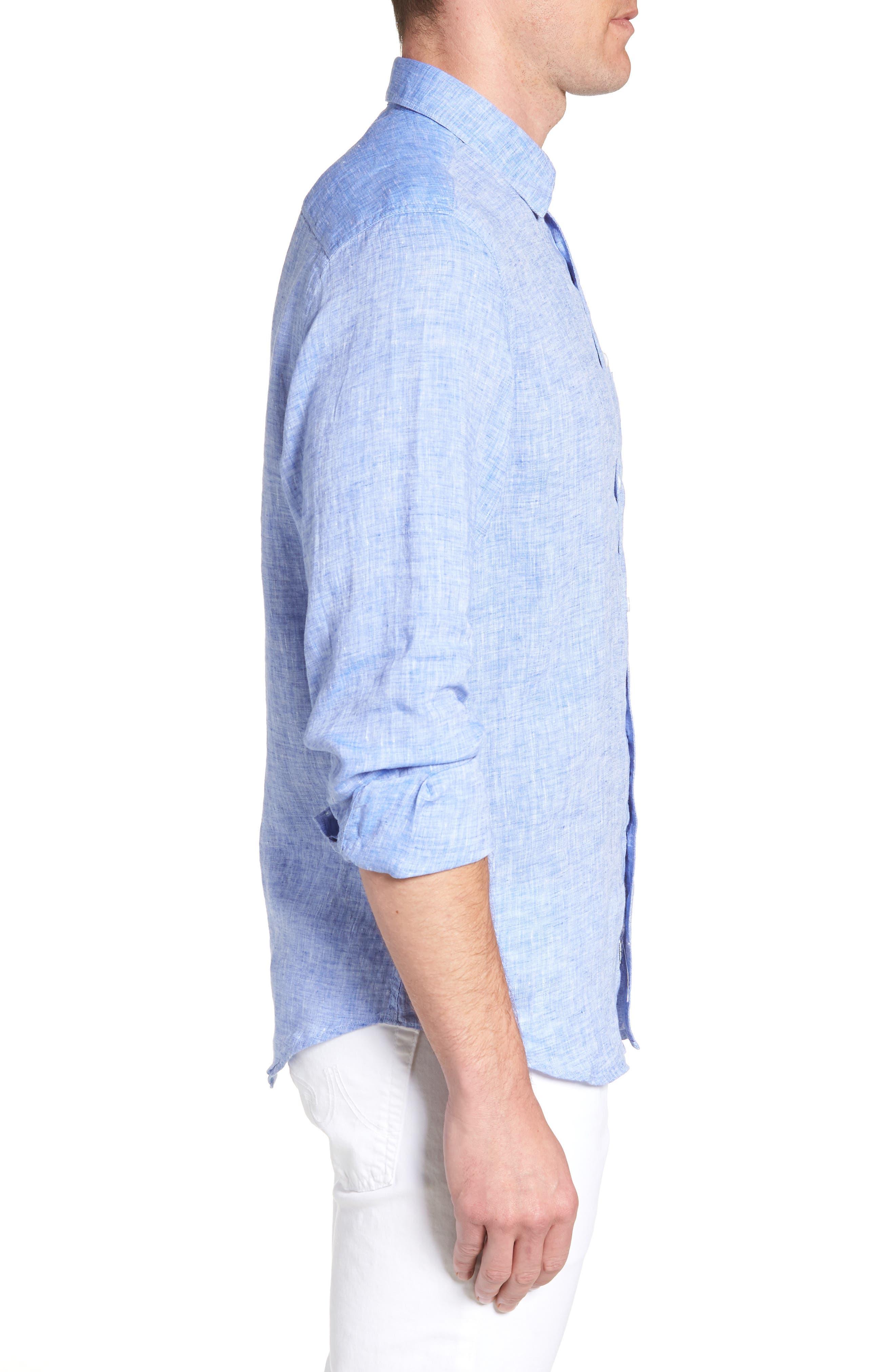 Regular Fit Solid Linen Sport Shirt,                             Alternate thumbnail 6, color,
