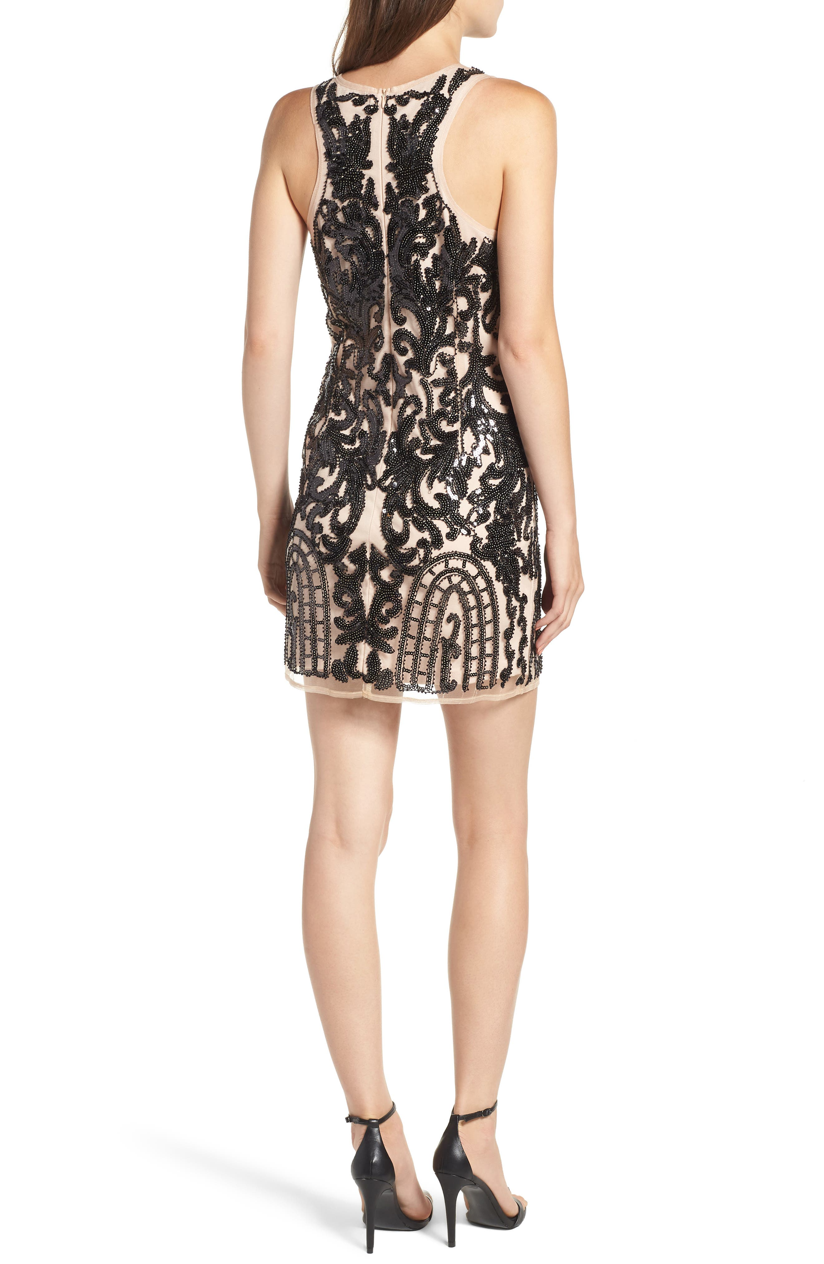 Sequin Embellished Dress,                             Alternate thumbnail 2, color,                             BLACK