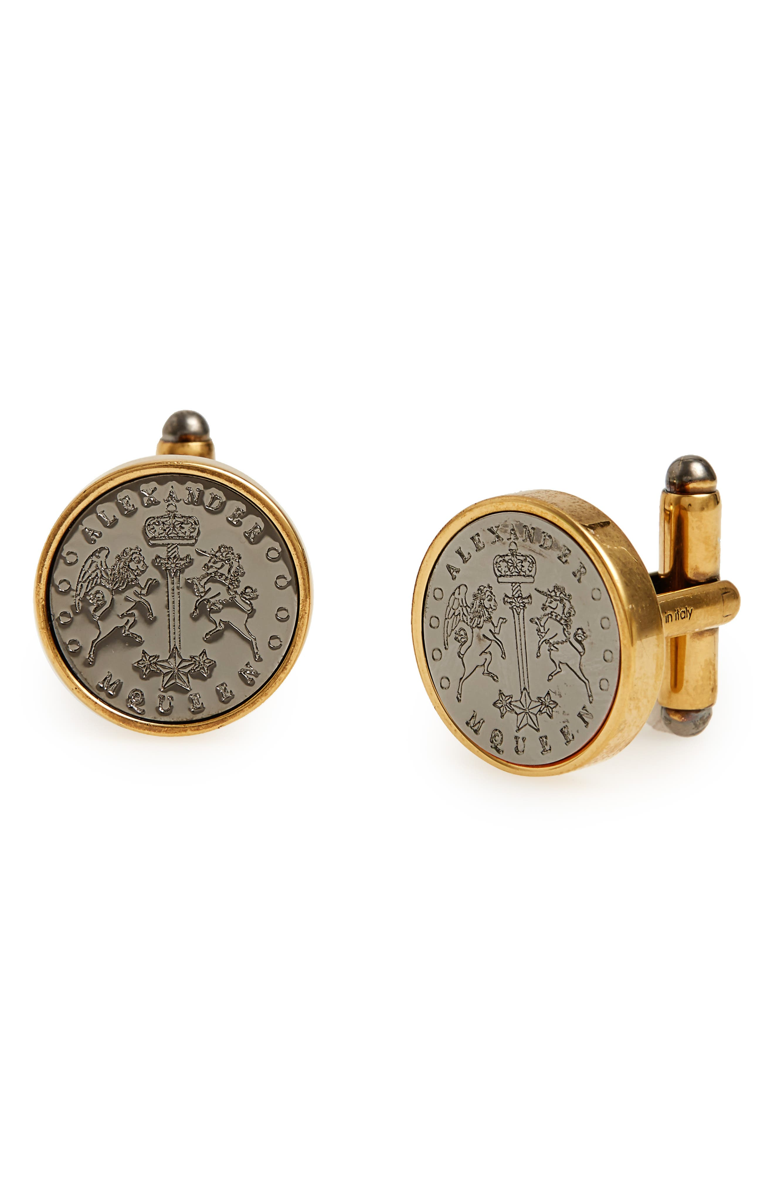 Signet Cuff Links,                             Main thumbnail 1, color,                             GOLD/ SILVER