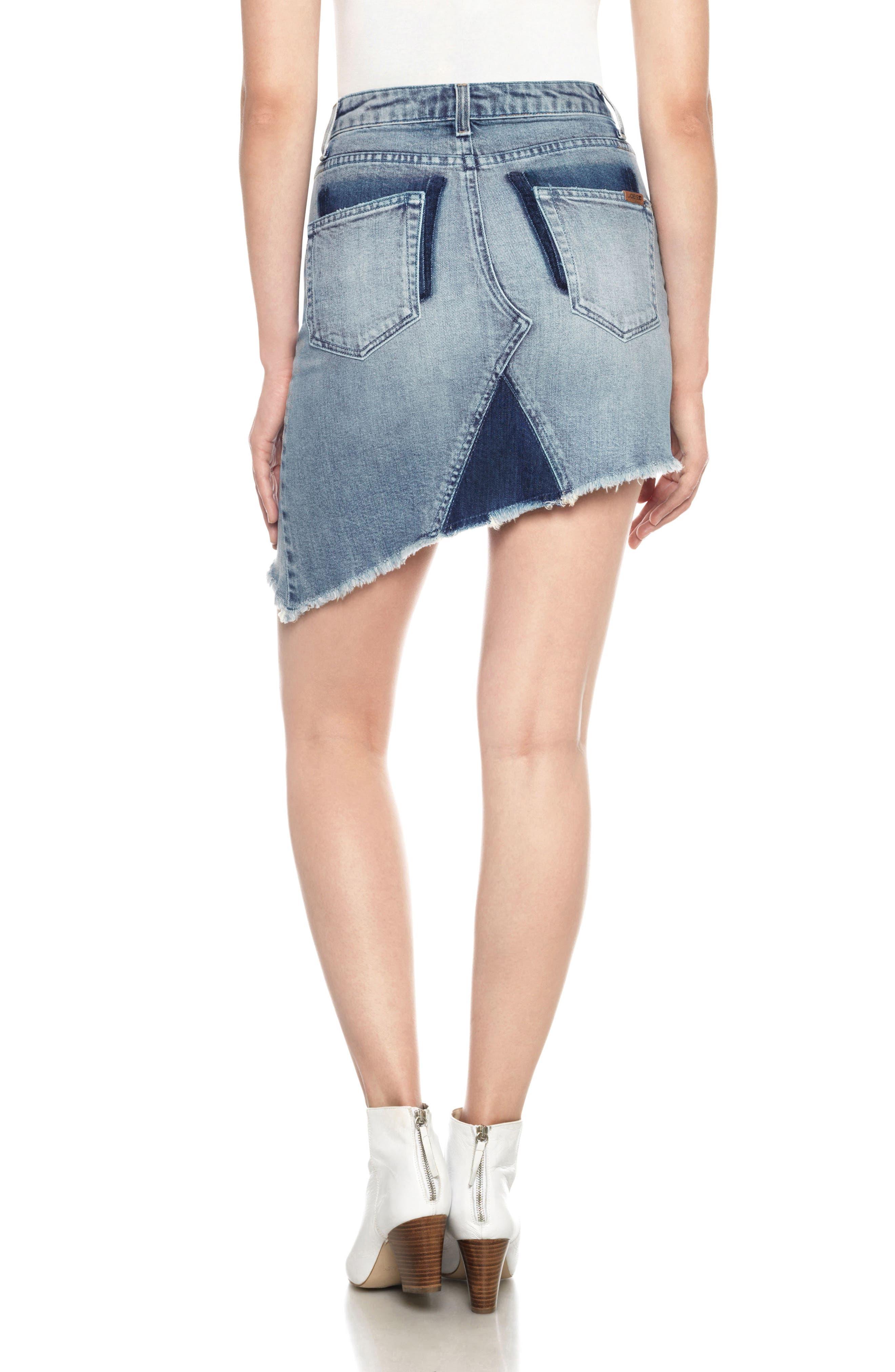 Asymmetrical Denim Skirt,                             Alternate thumbnail 2, color,