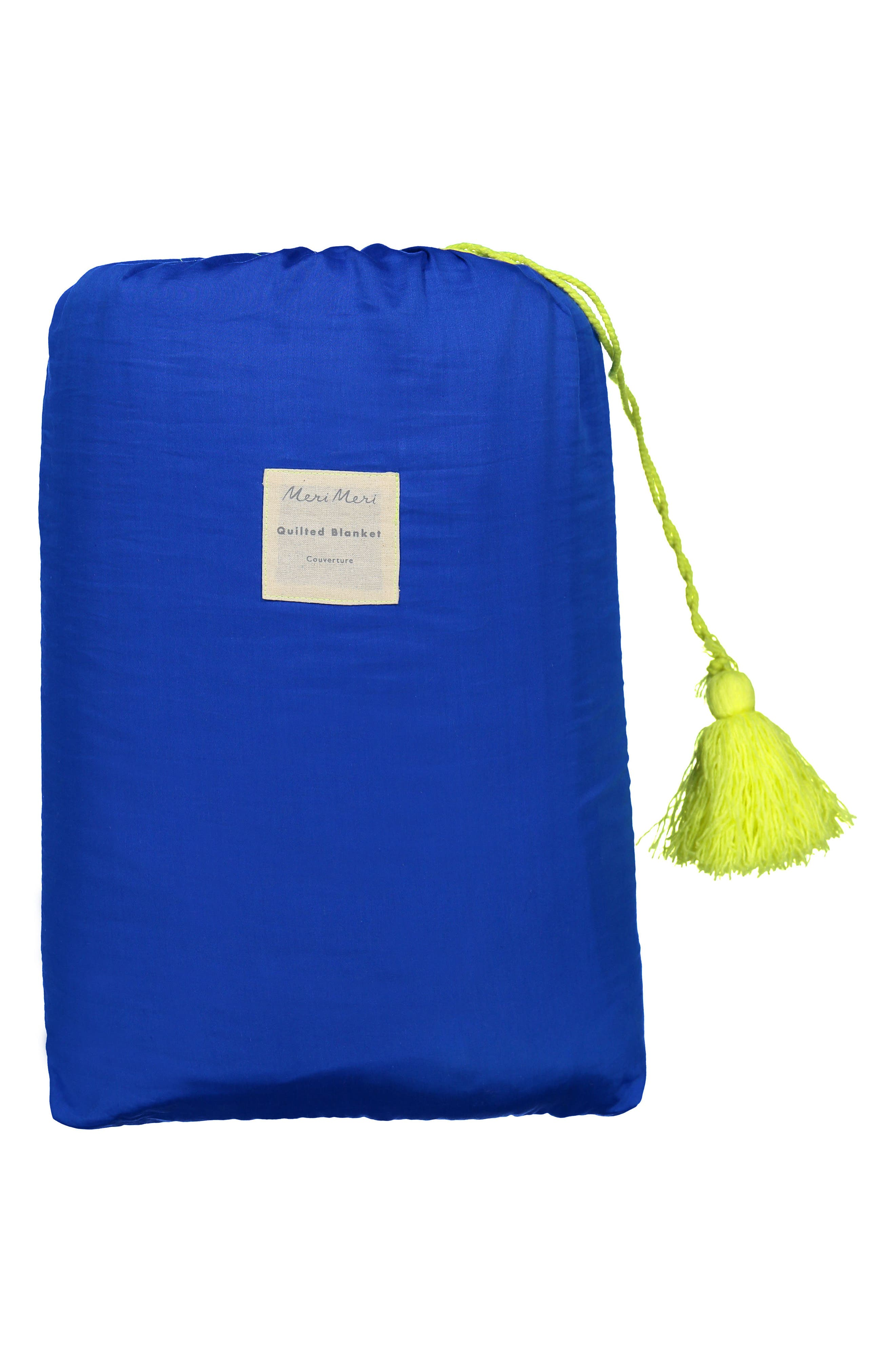 Organic Cotton Quilted Blanket,                             Alternate thumbnail 3, color,                             BLUE