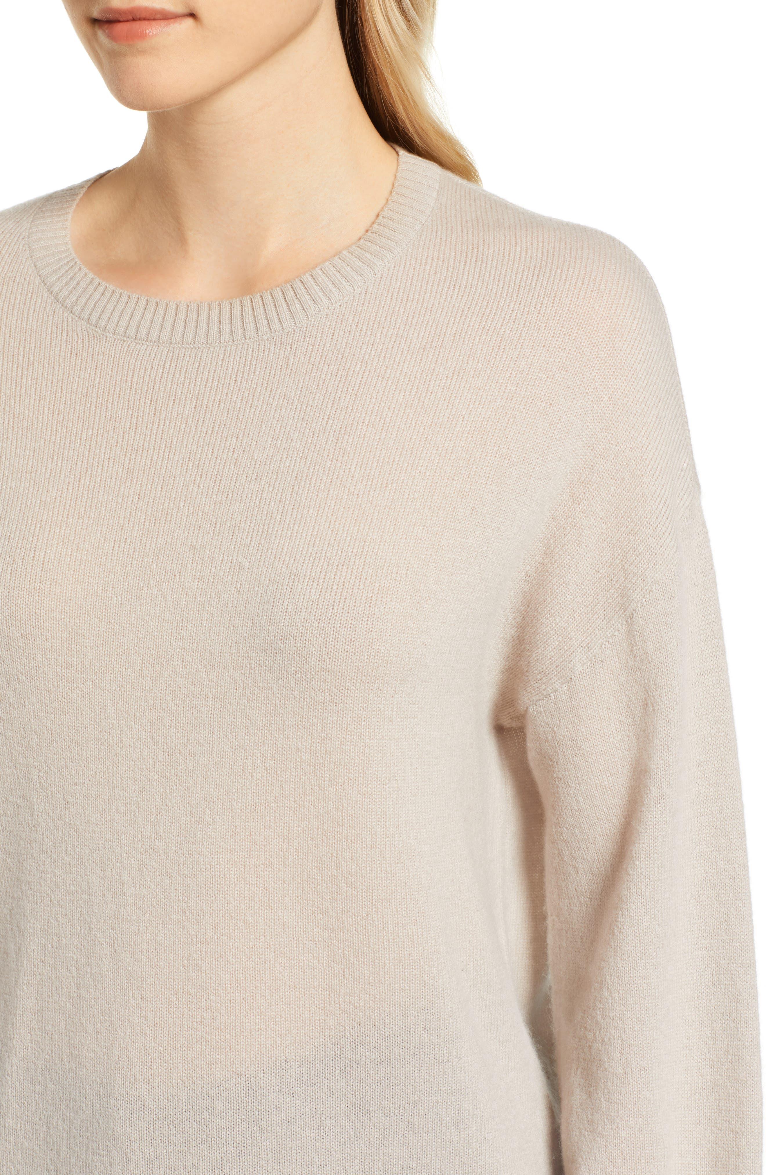 Blouson Sleeve Cashmere Sweater,                             Alternate thumbnail 4, color,                             MUSHROOM