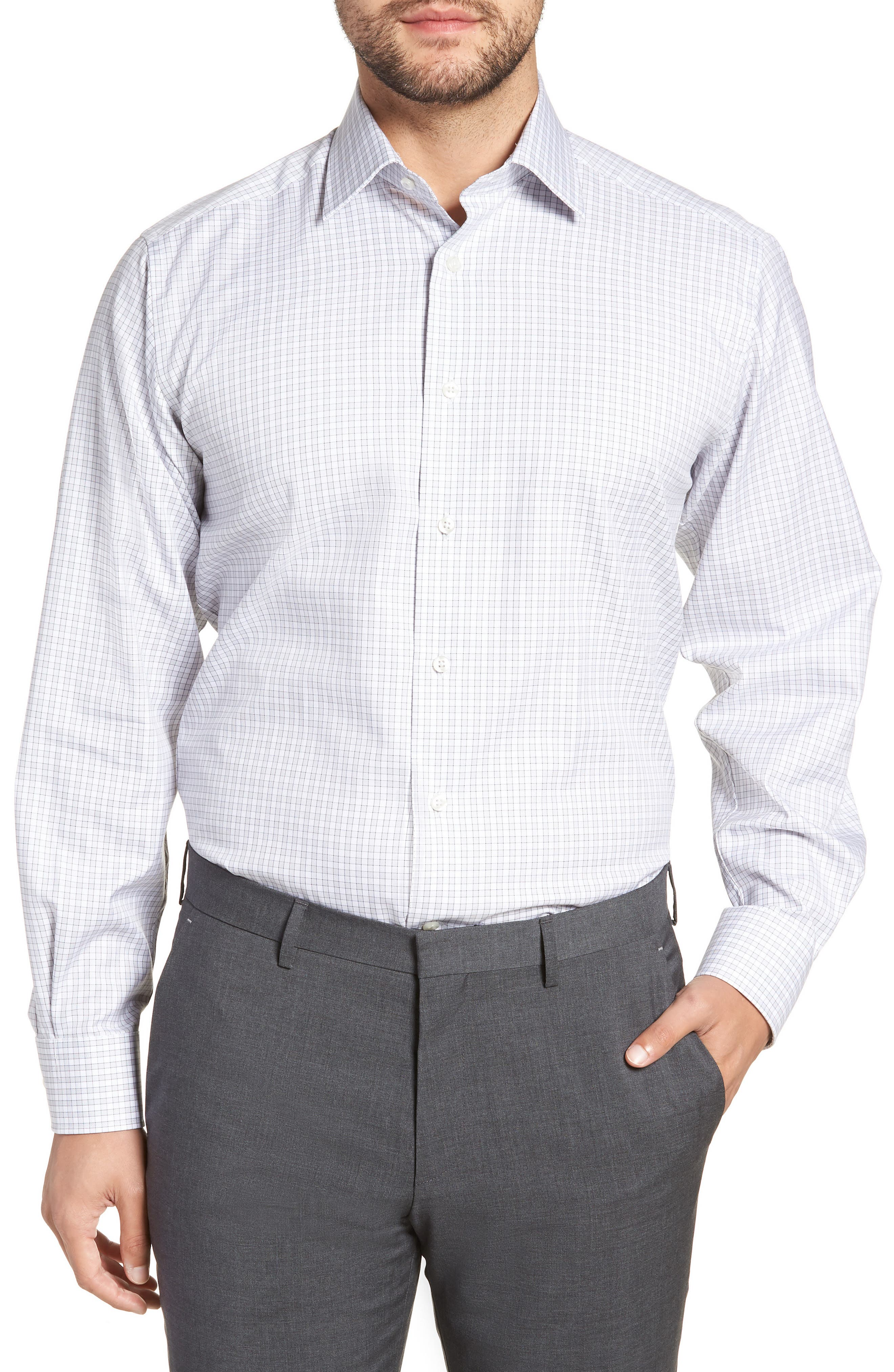 Regular Fit Check Dress Shirt,                         Main,                         color, GRAY