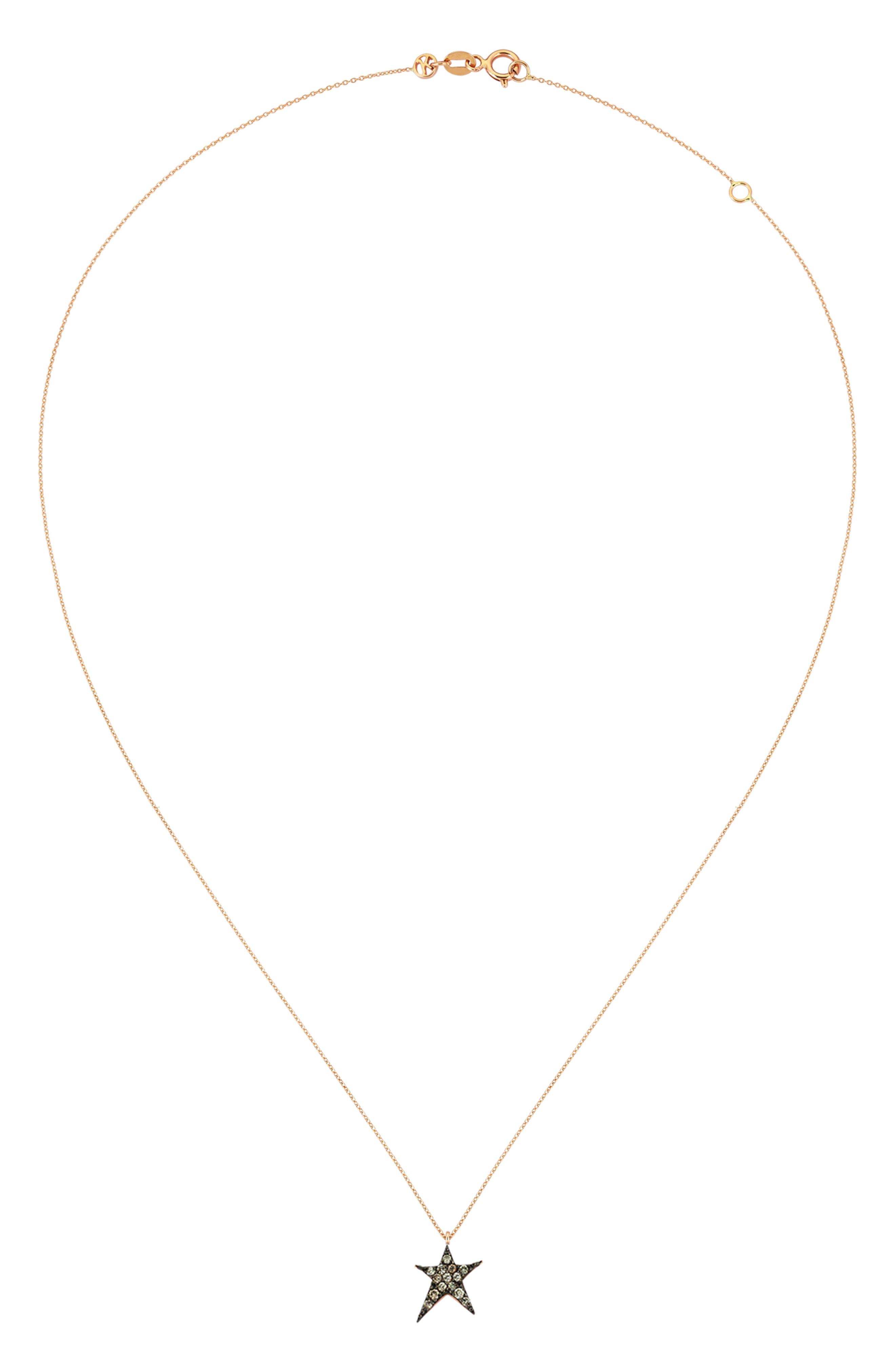 Struck Star Champagne Diamond Necklace,                             Alternate thumbnail 2, color,                             ROSE GOLD