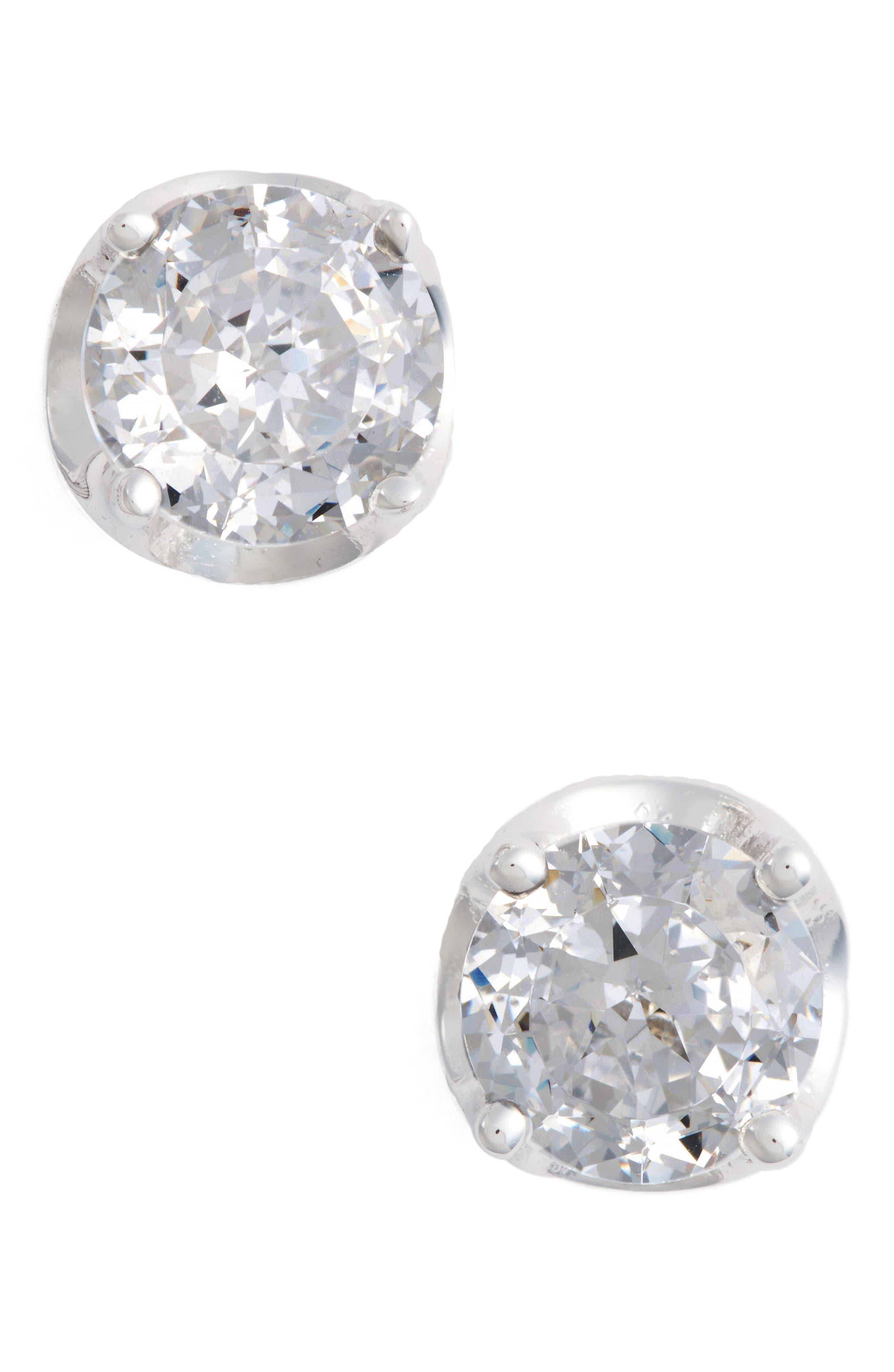 Simulated Diamond Stud Earrings,                             Main thumbnail 1, color,                             100
