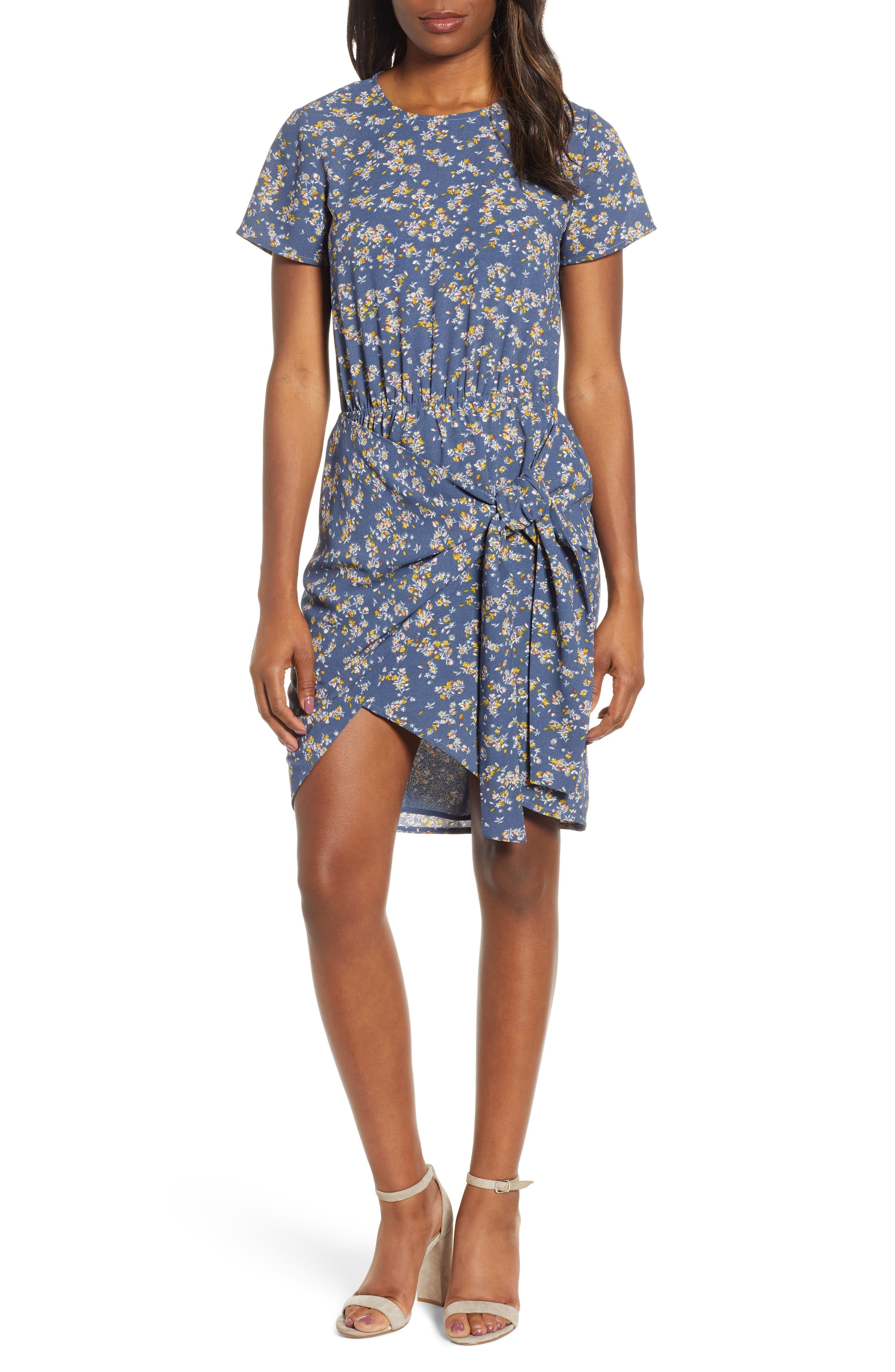 1.state Heritage Bouquet Tie Front Dress, Blue